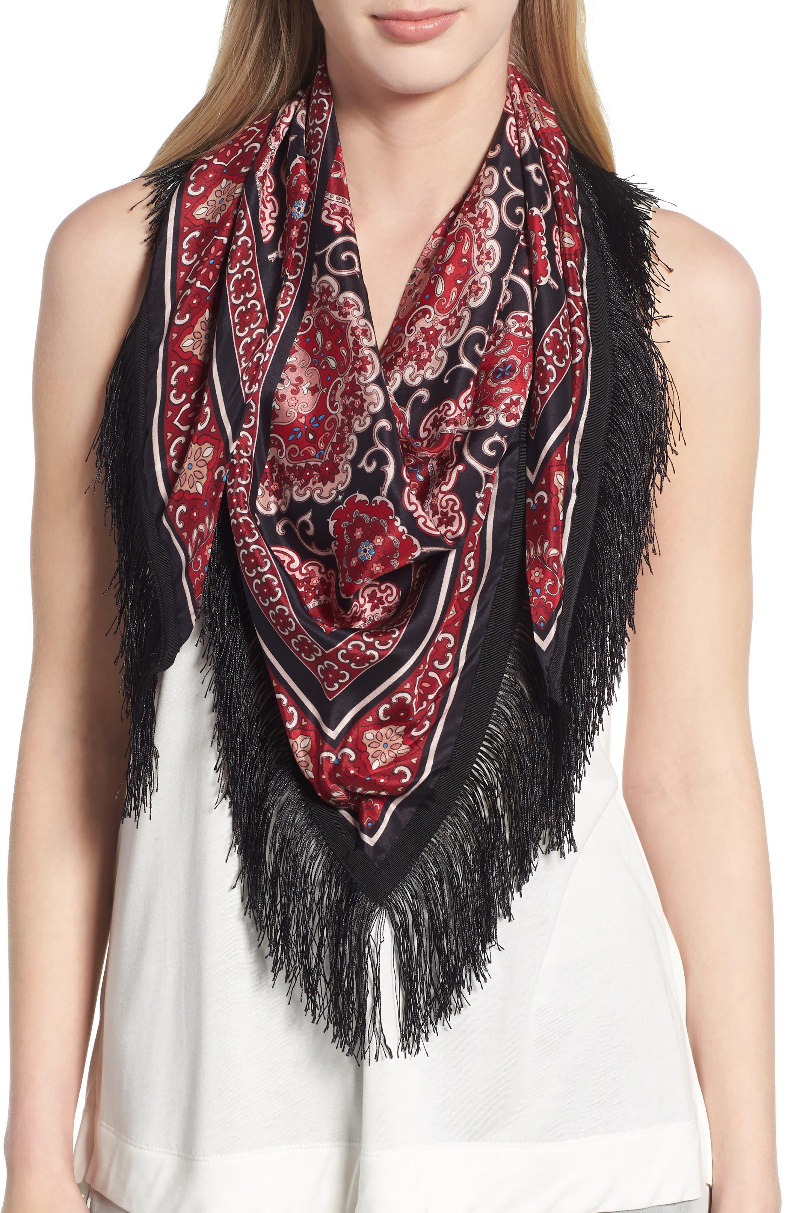 medallion piano shawl,                         Main,                         color, BLACK