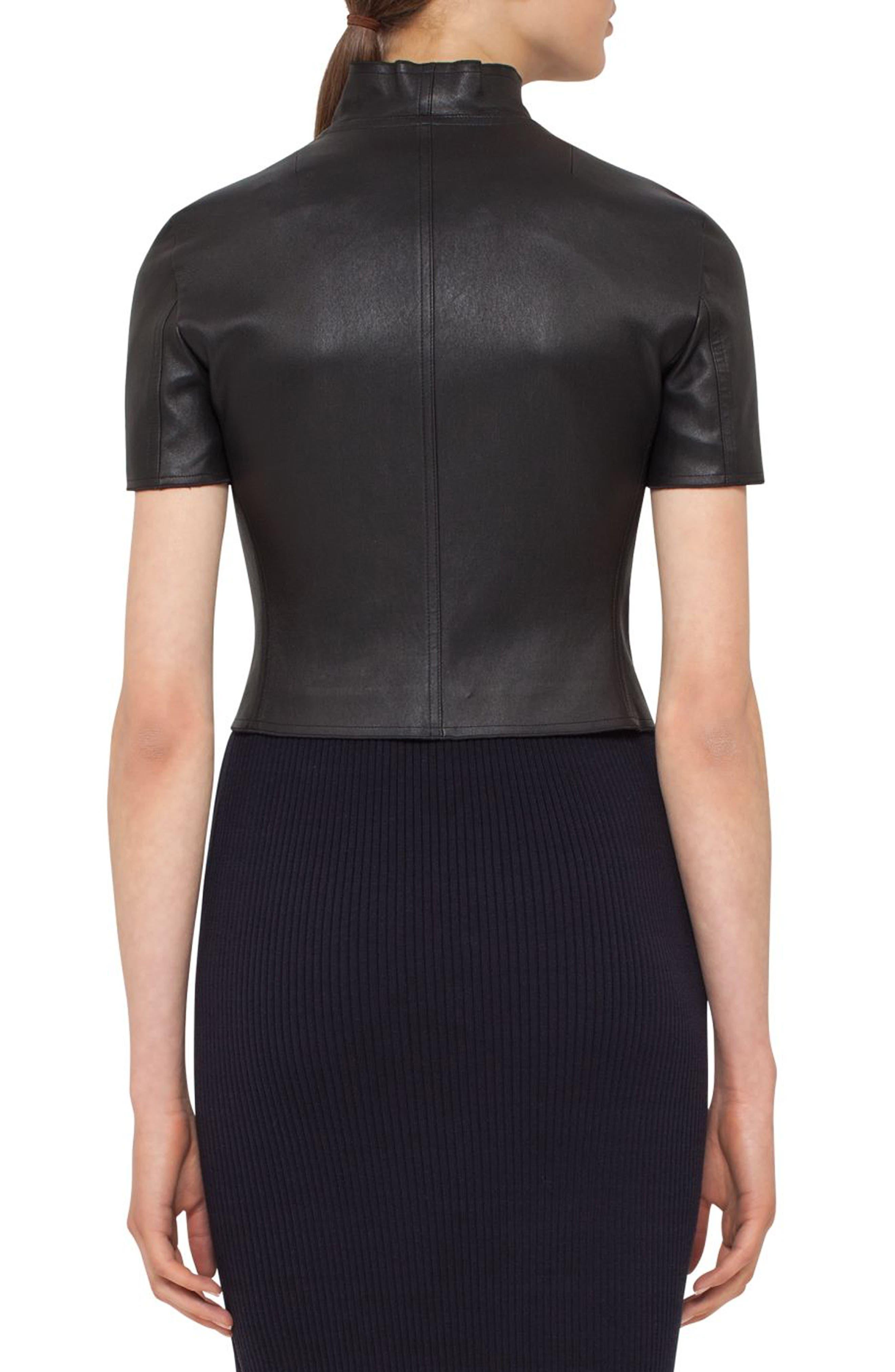 Leather Mini Biker Jacket,                             Alternate thumbnail 2, color,                             BLACK
