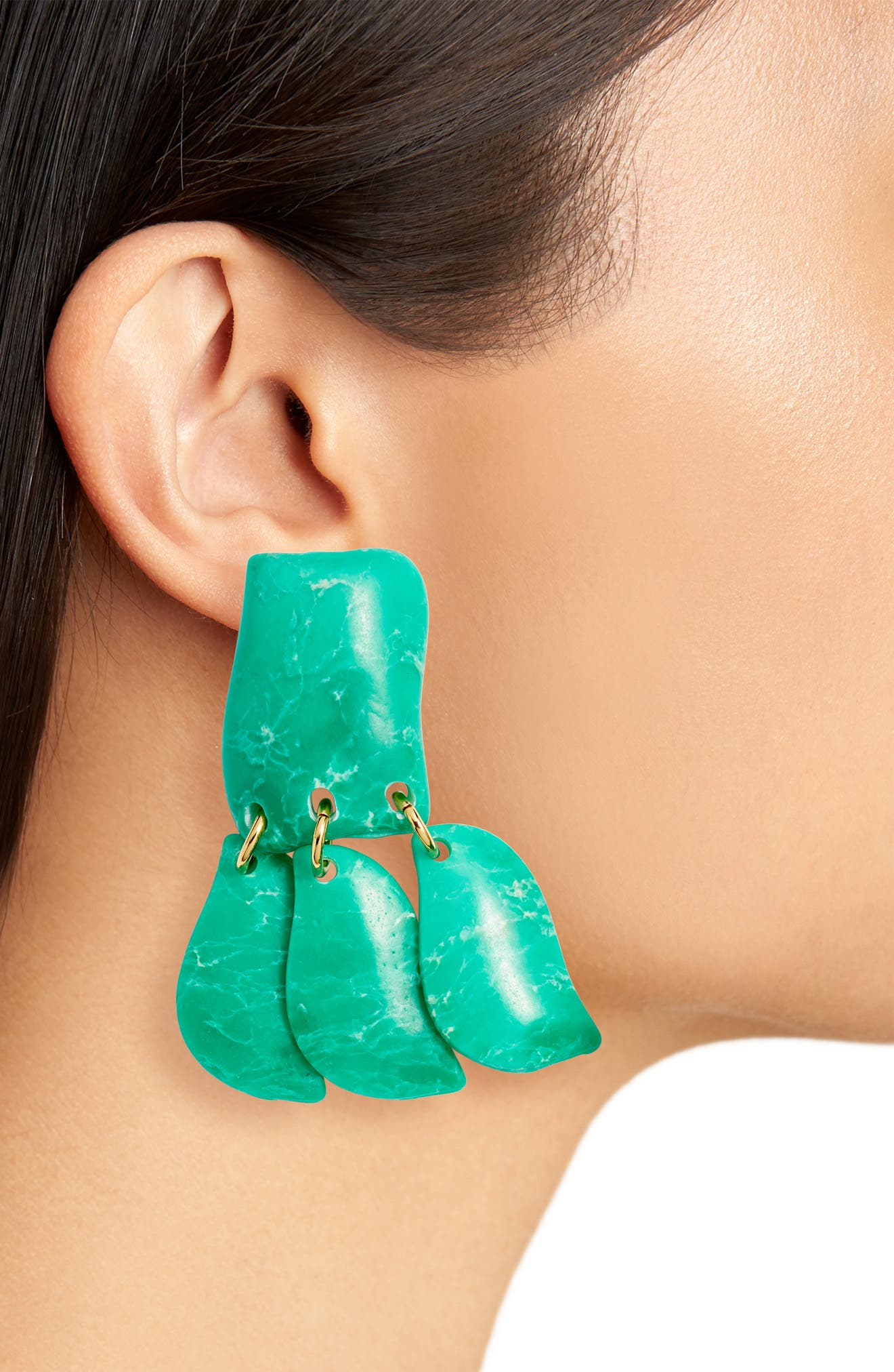 Iris Petal Drop Earrings,                             Alternate thumbnail 2, color,                             EMERALD