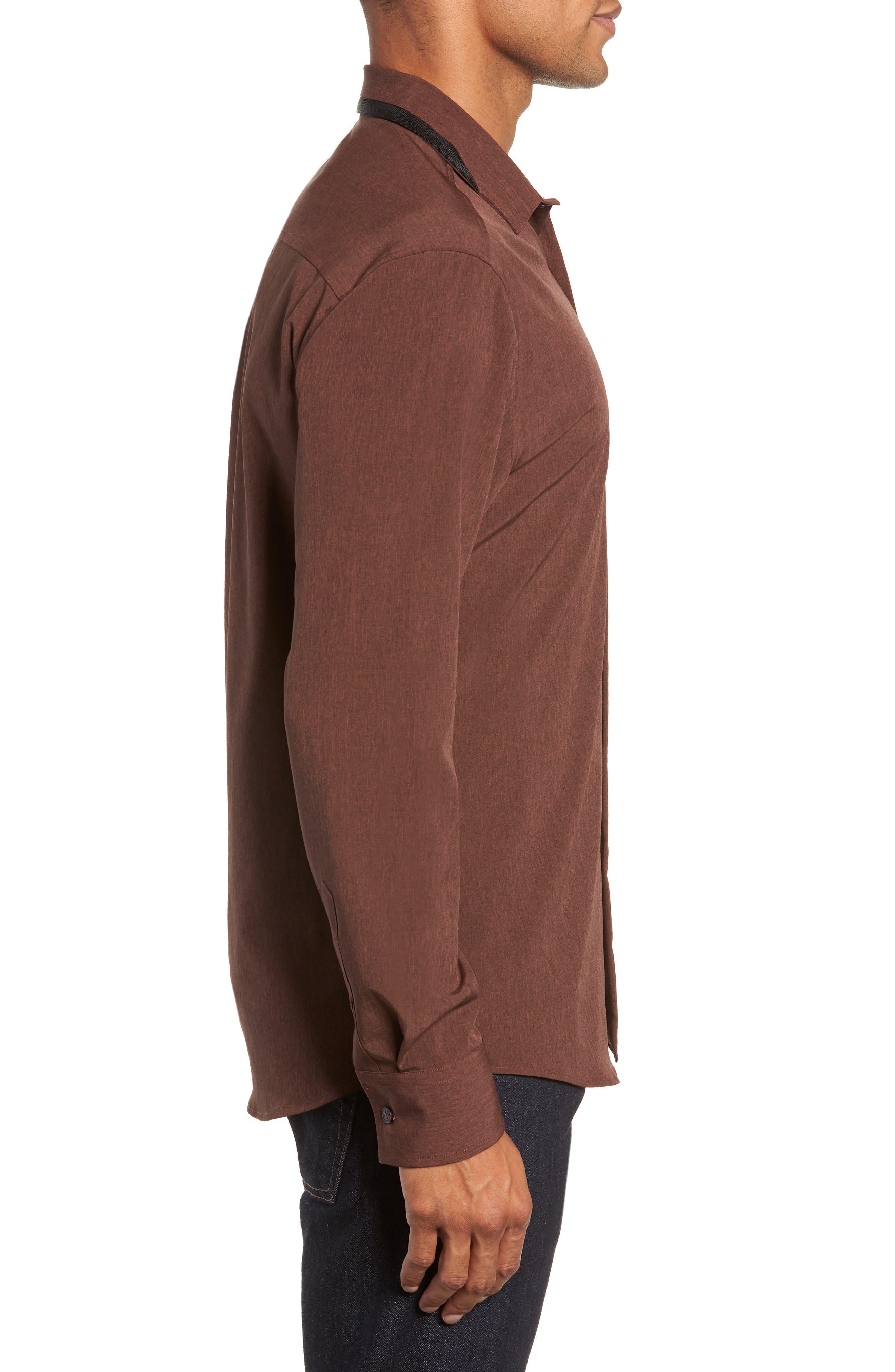 Long Sleeve Performance Sport Shirt,                             Alternate thumbnail 4, color,                             HENNA SCRATCH