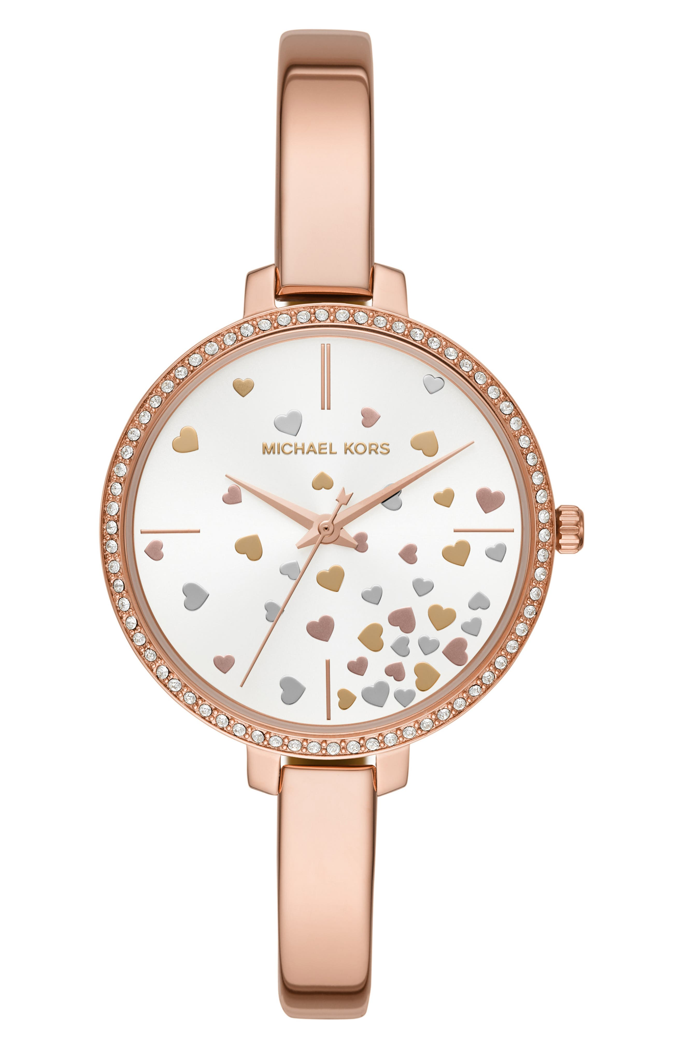 Jaryn Pavé Bangle Watch, 36mm, Main, color, ROSE GOLD/ WHITE/ ROSE GOLD