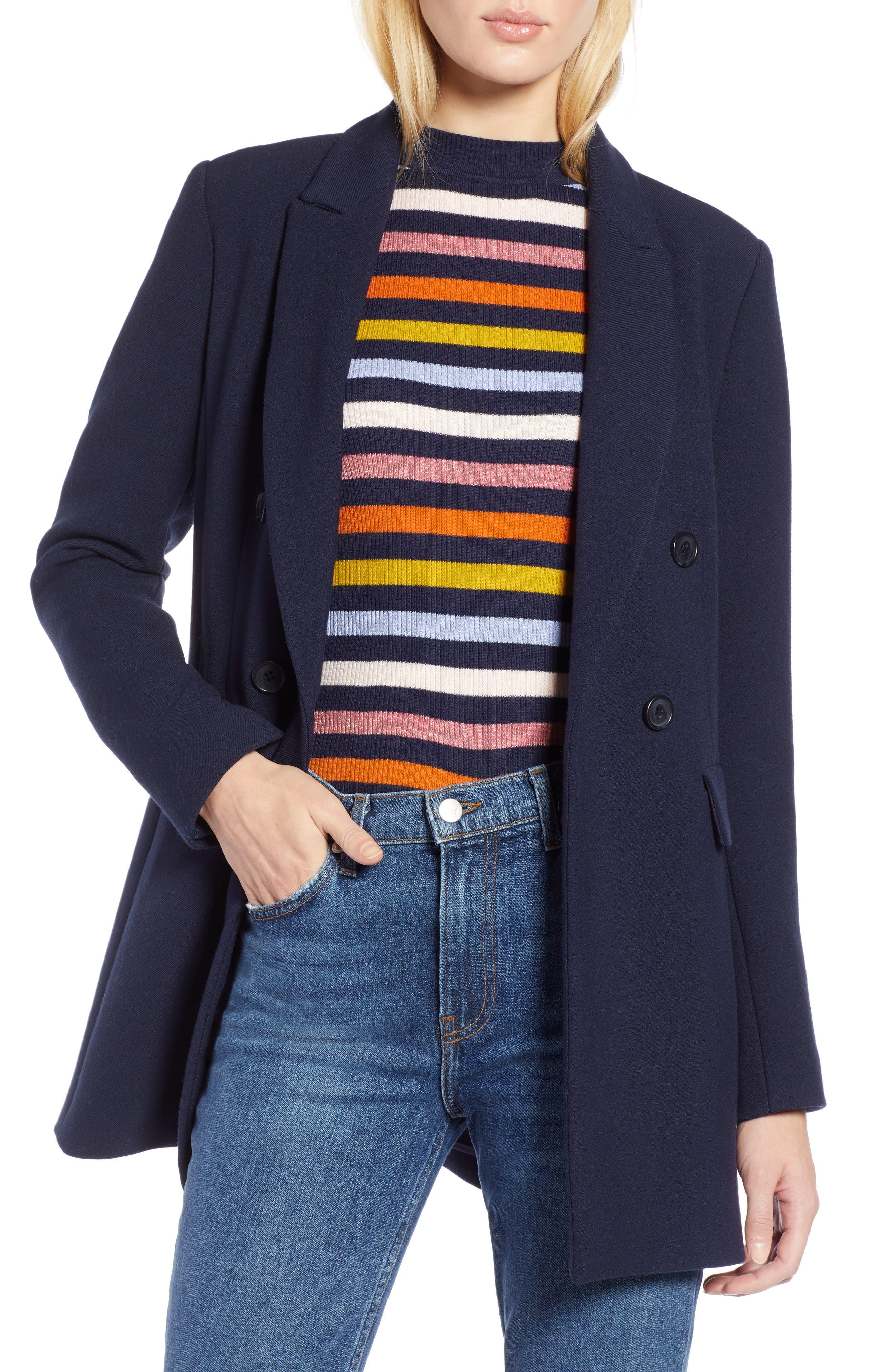 x Atlantic-Pacific Menswear Double Breasted Blazer,                         Main,                         color, NAVY