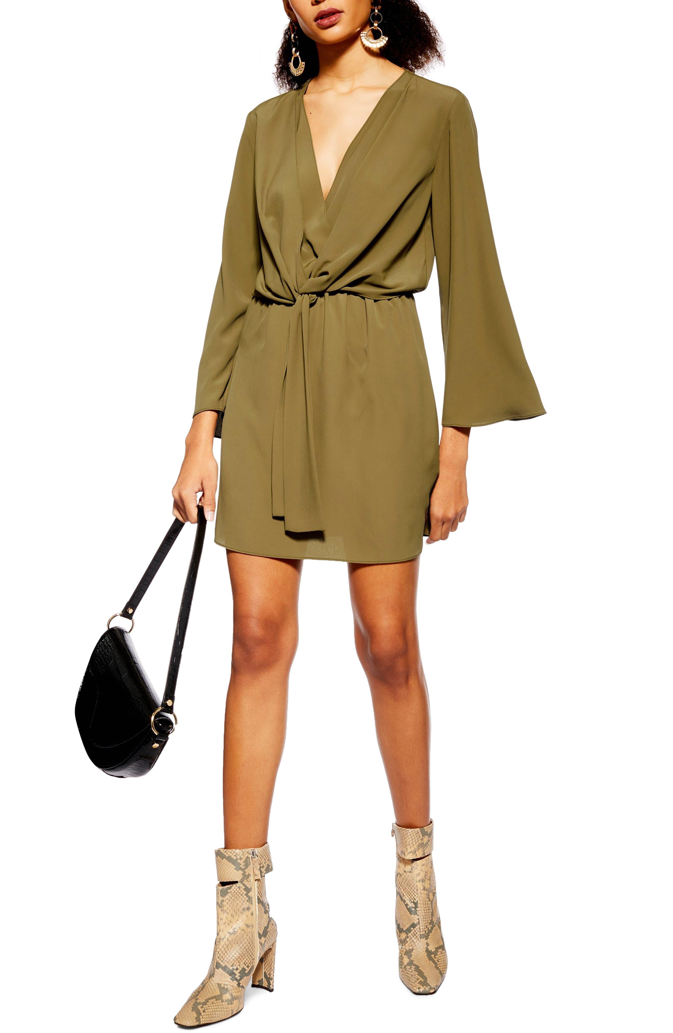 Topshop Tiffany Knot Minidress, US (fits like 0-2) - Green