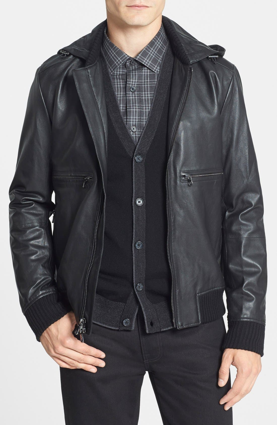 Hooded Leather Bomber Jacket,                             Main thumbnail 1, color,                             001