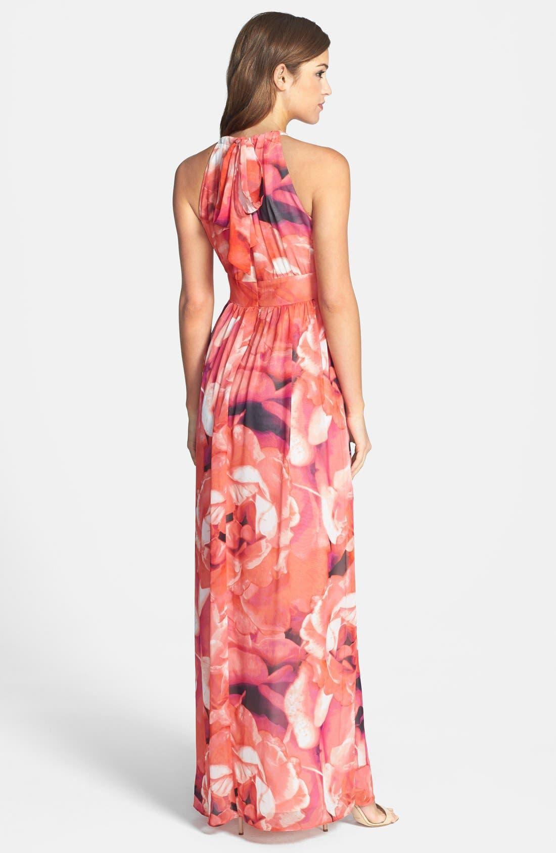 Print Chiffon Fit & Flare Maxi Dress,                             Alternate thumbnail 9, color,                             650