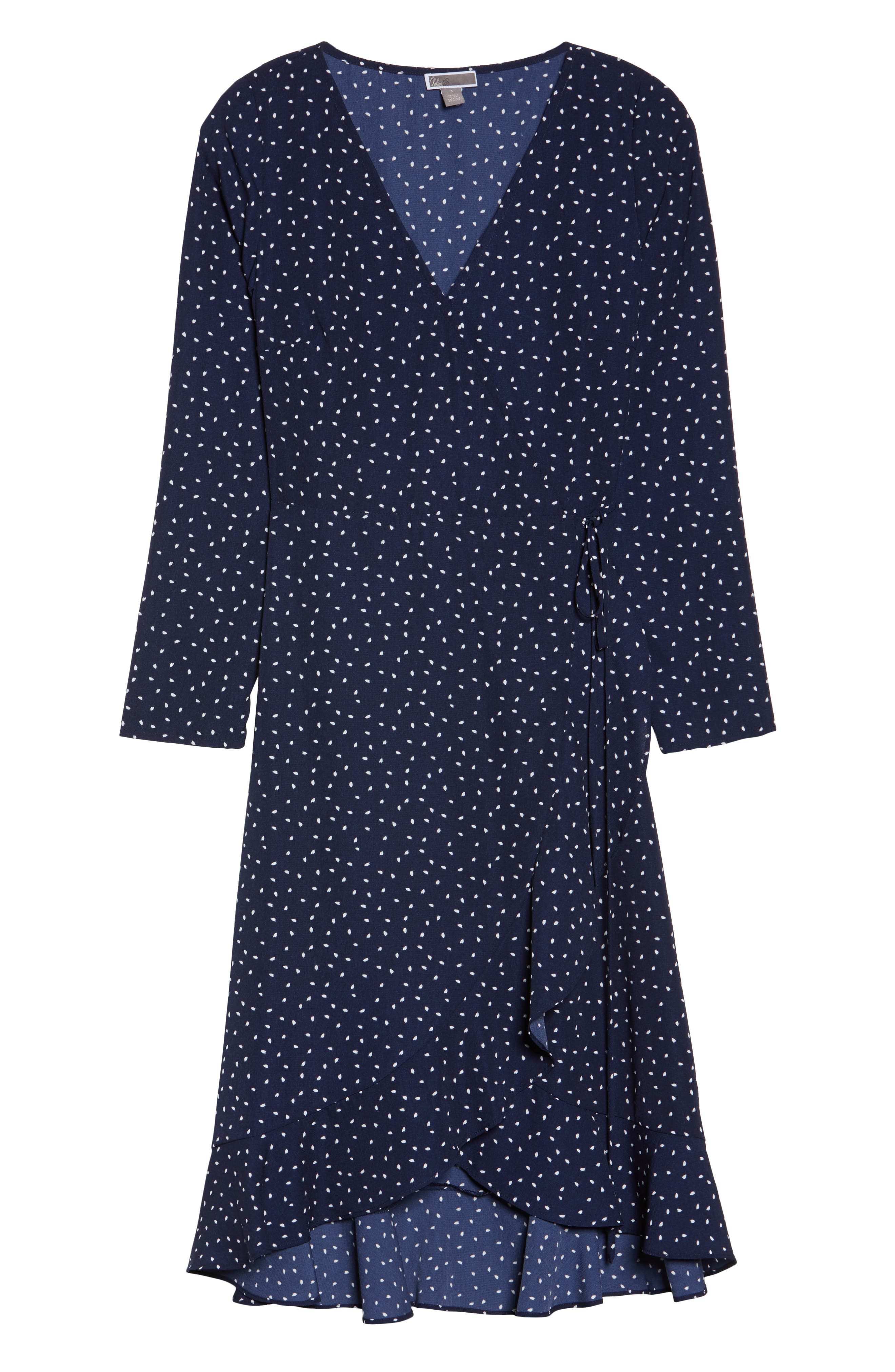 Print Wrap Dress,                             Alternate thumbnail 6, color,