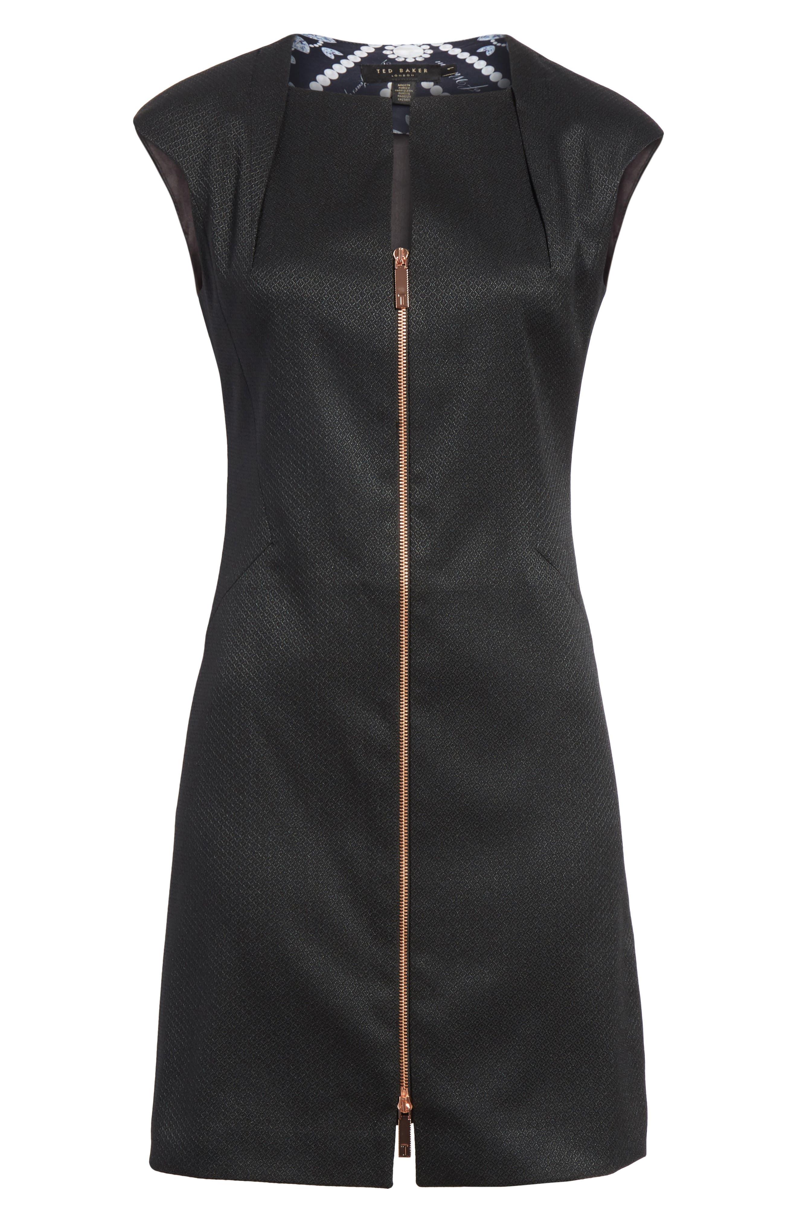 Zip Front A-Line Dress,                             Alternate thumbnail 6, color,                             001