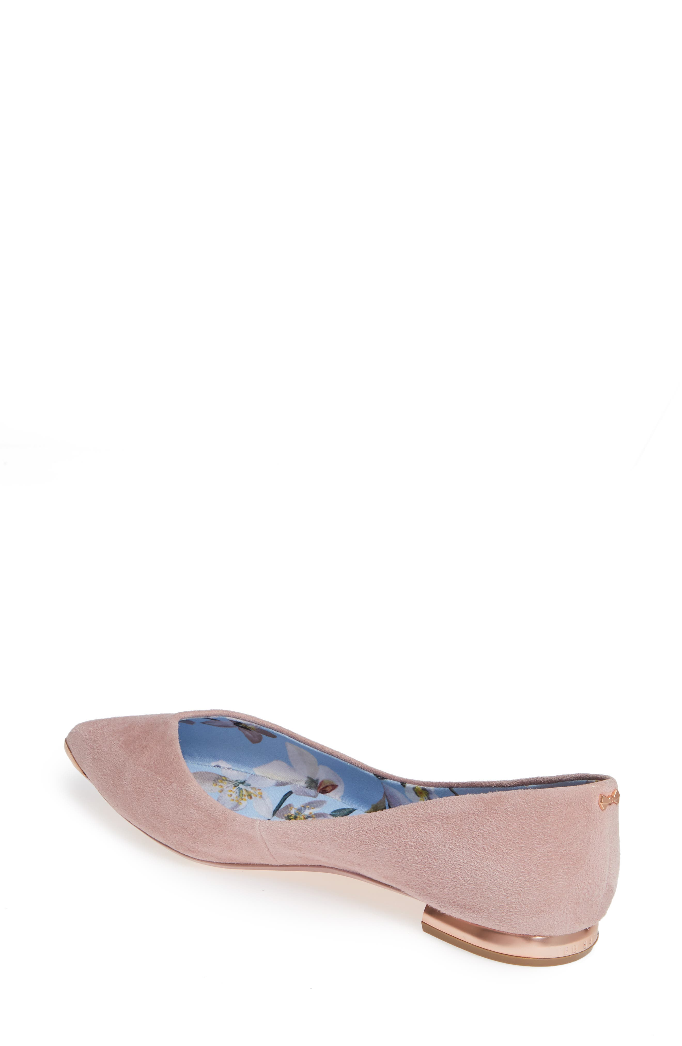 TED BAKER LONDON,                             Mancies Pointy Toe Flat,                             Alternate thumbnail 2, color,                             WINTER ROSE SUEDE