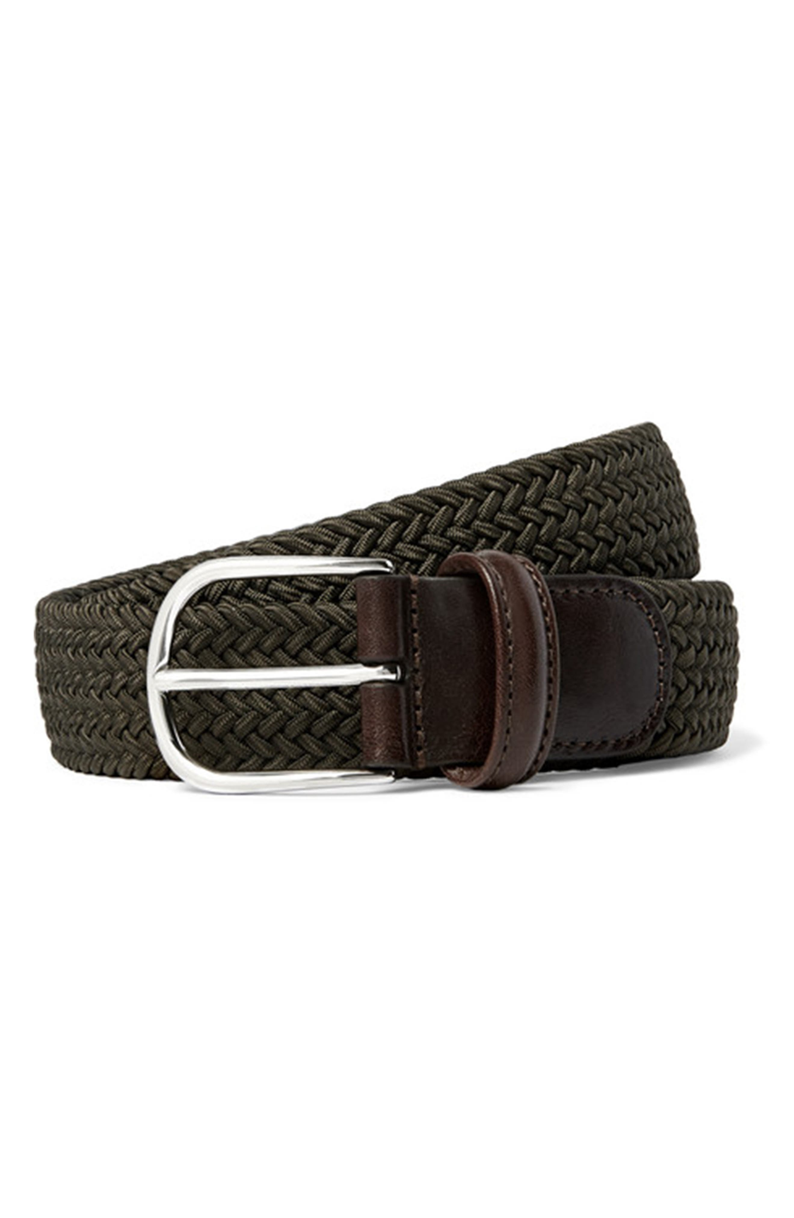 ANDERSONS Basic Stretch Woven Belt in Olive
