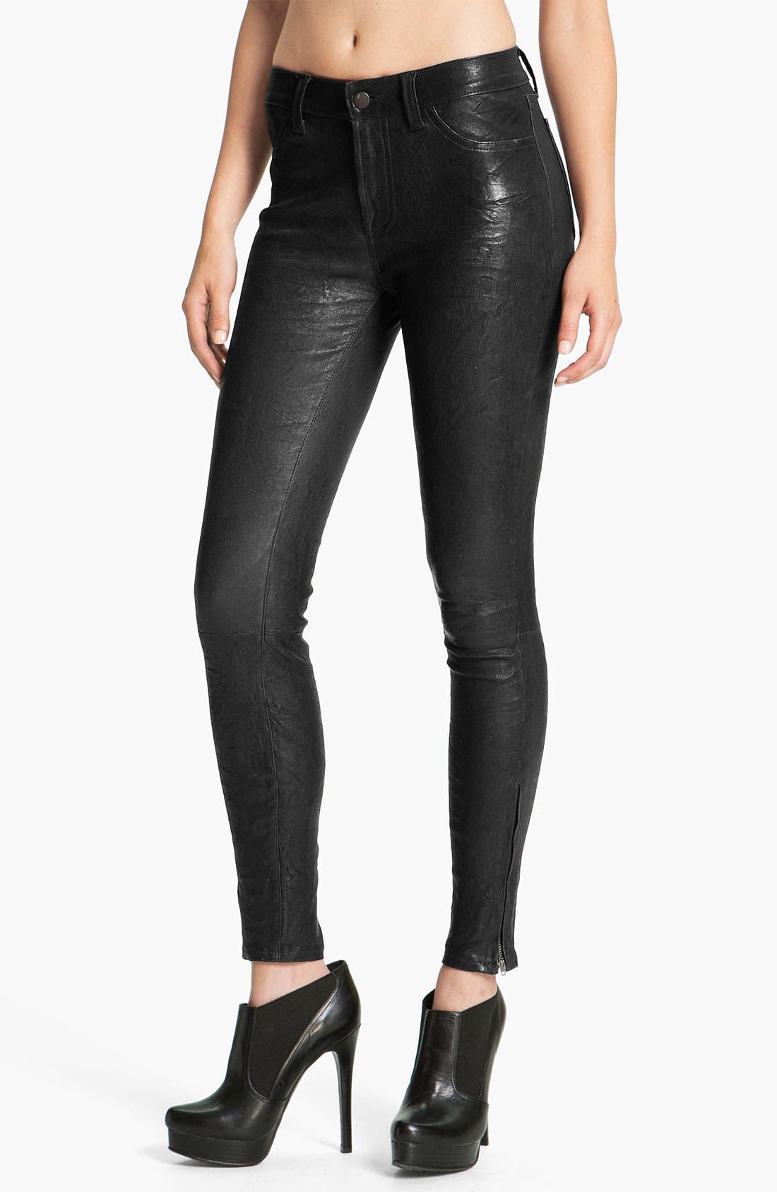 '8001' Lambskin Leather Pants,                             Main thumbnail 4, color,