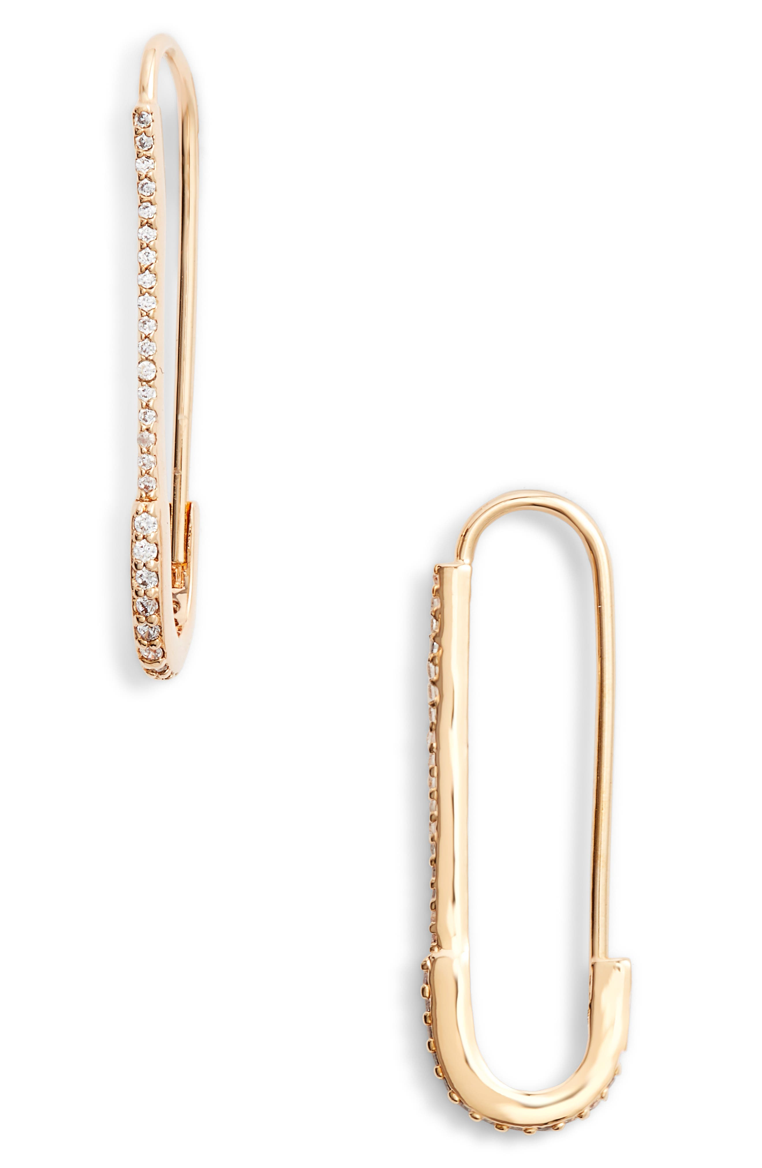 Paper Clip Drop Earrings,                             Main thumbnail 1, color,                             GOLD