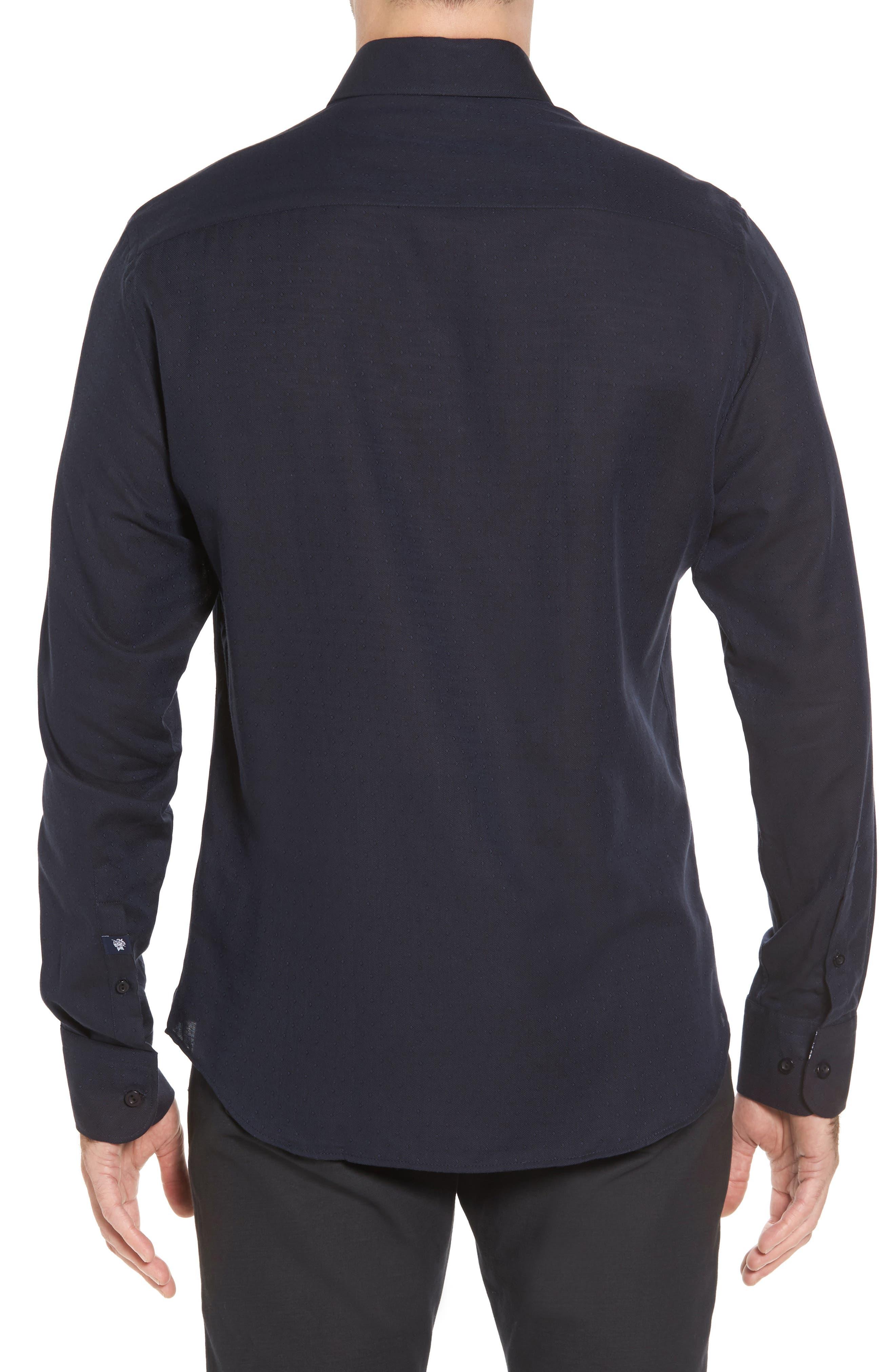 Slim Fit Diamond Twill Sport Shirt,                             Alternate thumbnail 2, color,                             NAVY