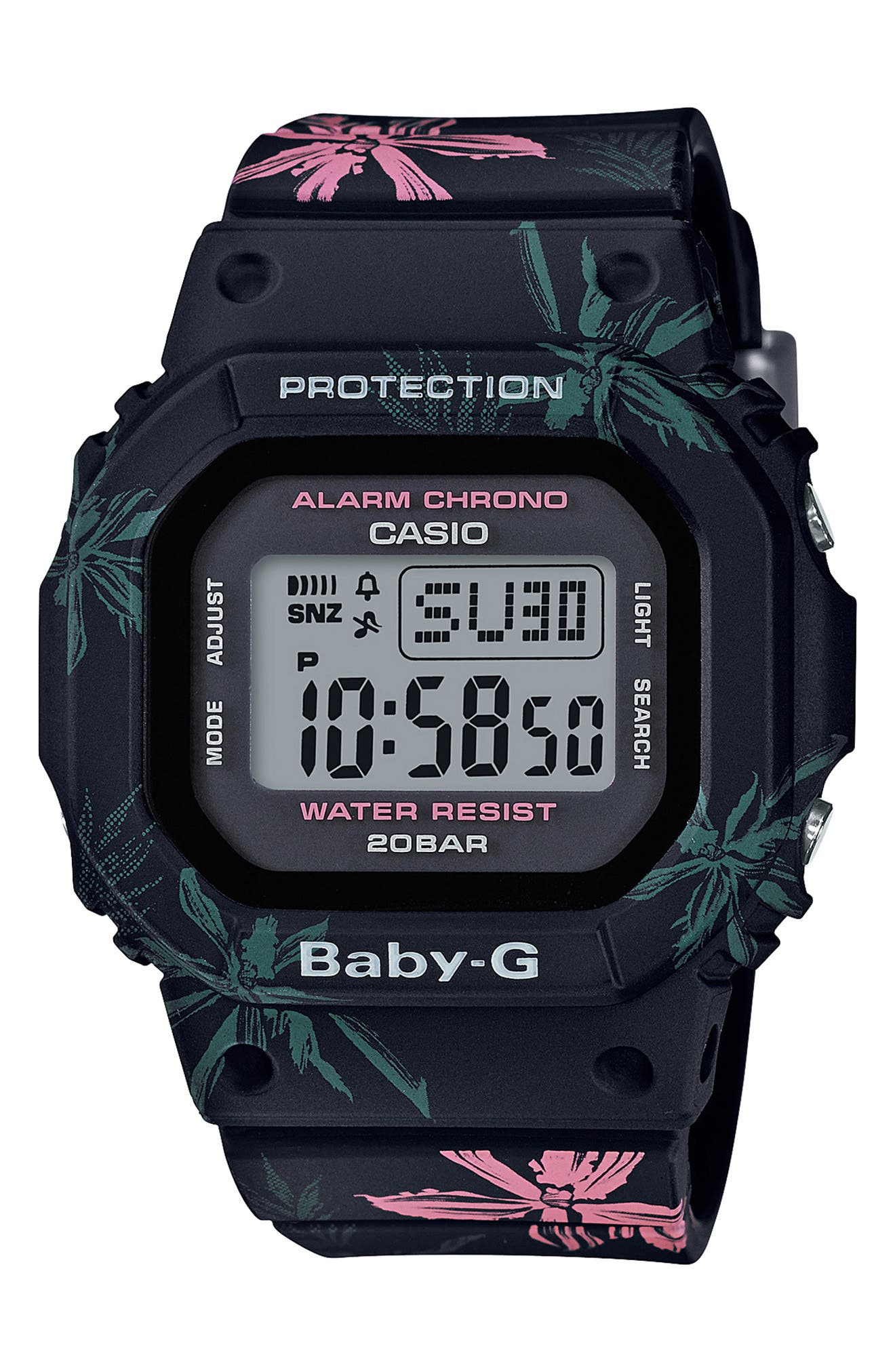 Baby-G Digital Resin Watch, 40mm,                             Main thumbnail 1, color,                             BLACK/ GREY