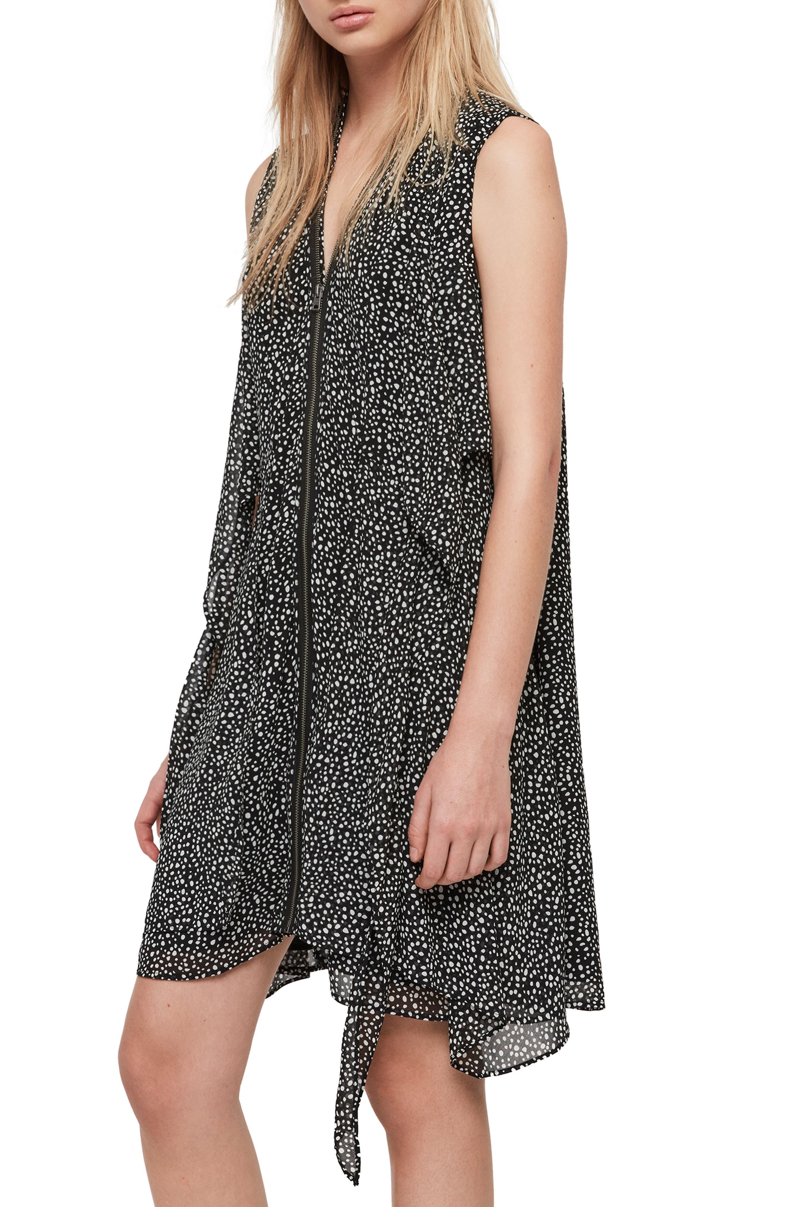 ALLSAINTS,                             Jayda Splash Dress,                             Alternate thumbnail 3, color,                             BLACK/ WHITE