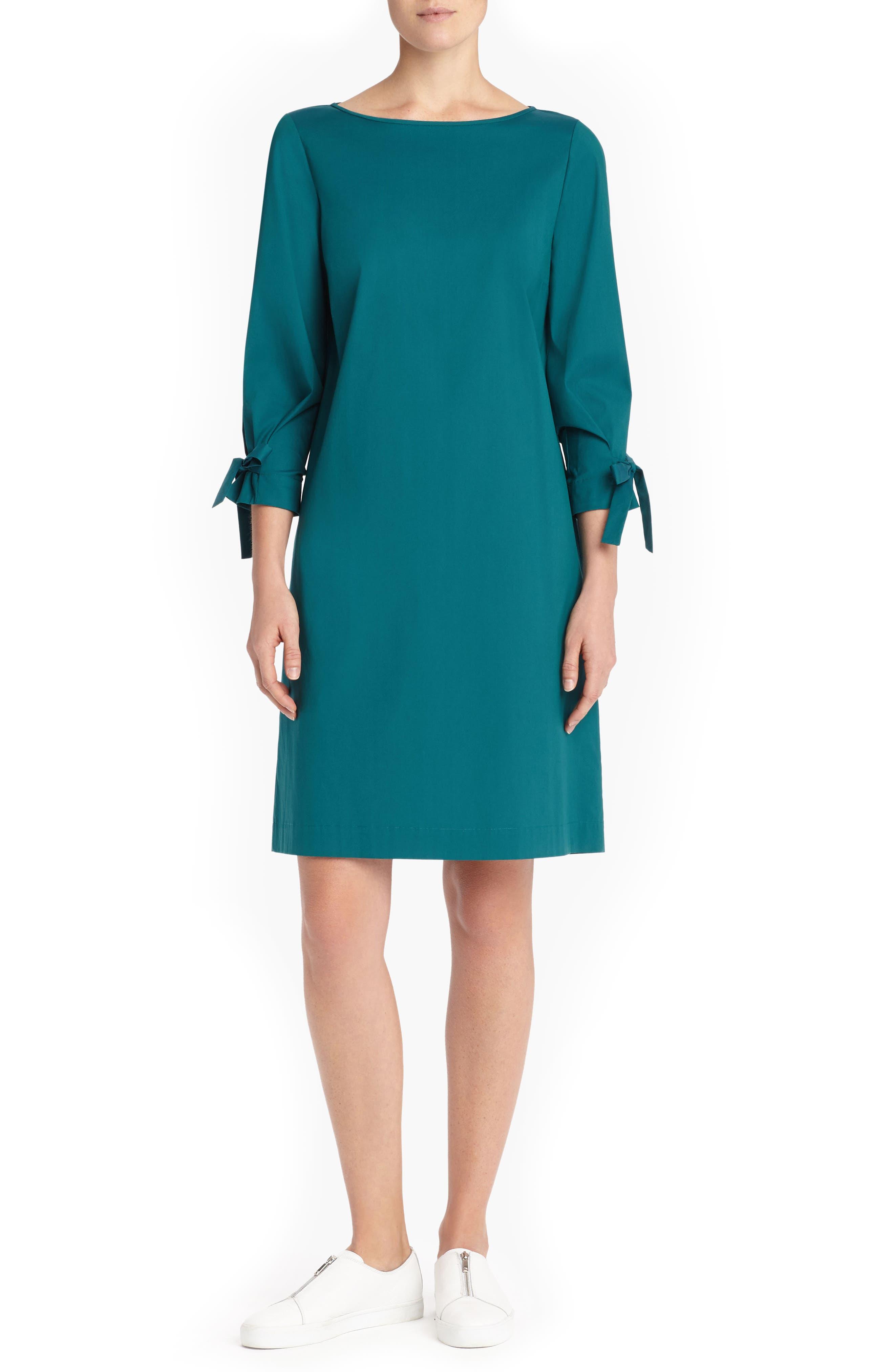 Paige Cotton Blend Dress, Main, color, ATLANTIC TEAL