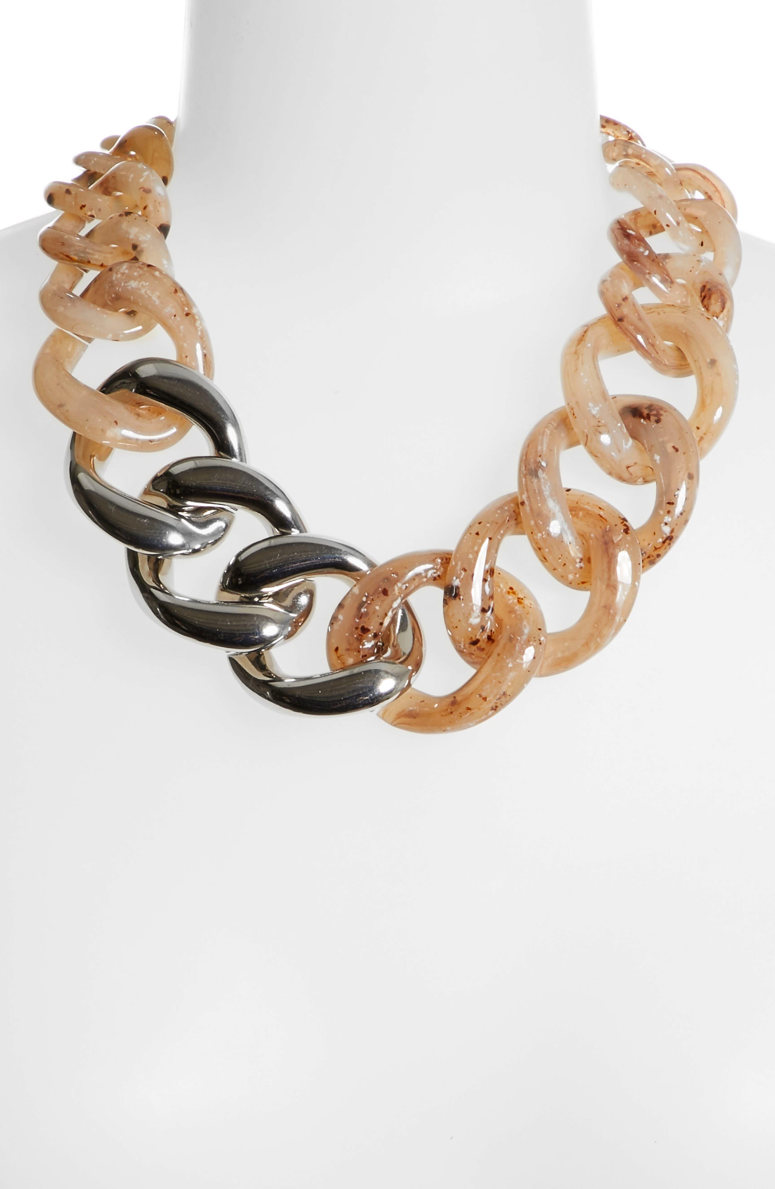 Chain Link Statement Necklace,                             Alternate thumbnail 3, color,