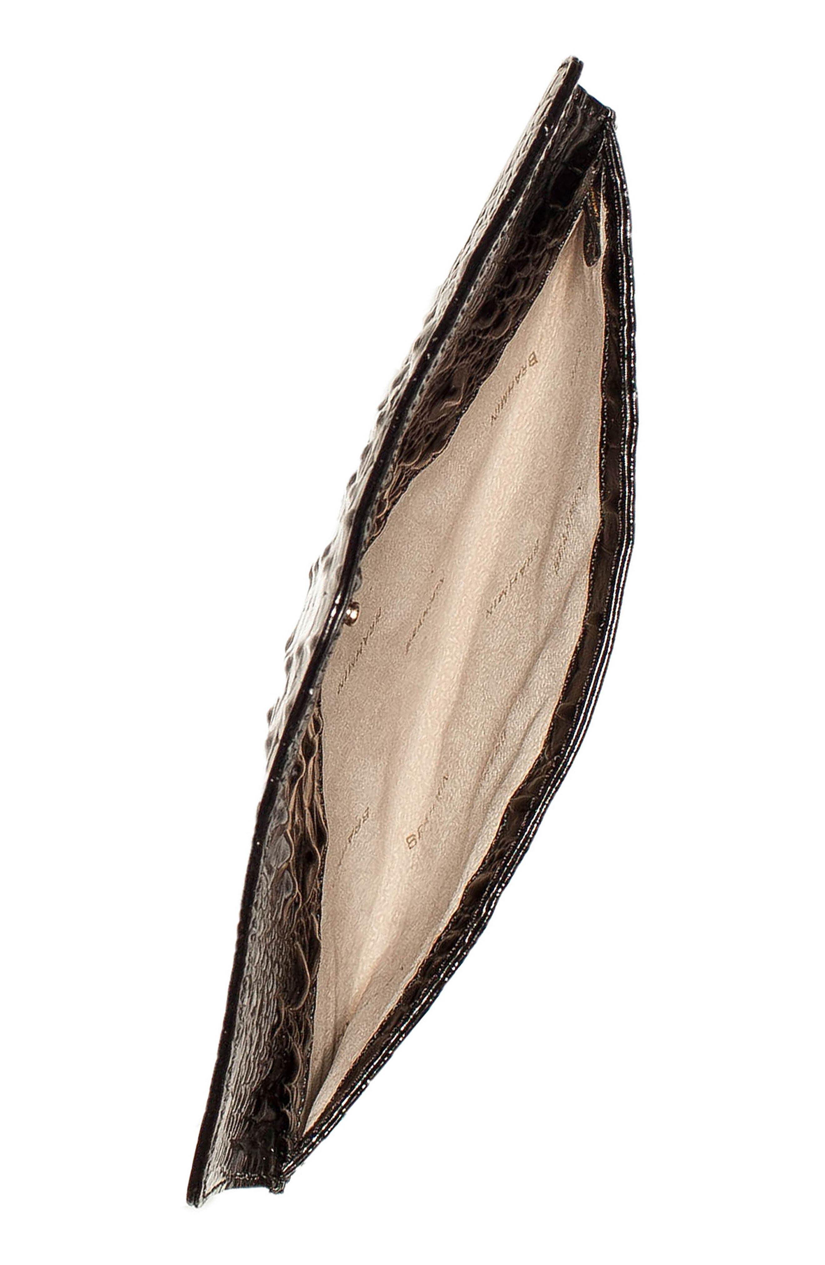 Melbourne Croc Embossed Leather Envelope Clutch,                             Alternate thumbnail 4, color,                             BLACK