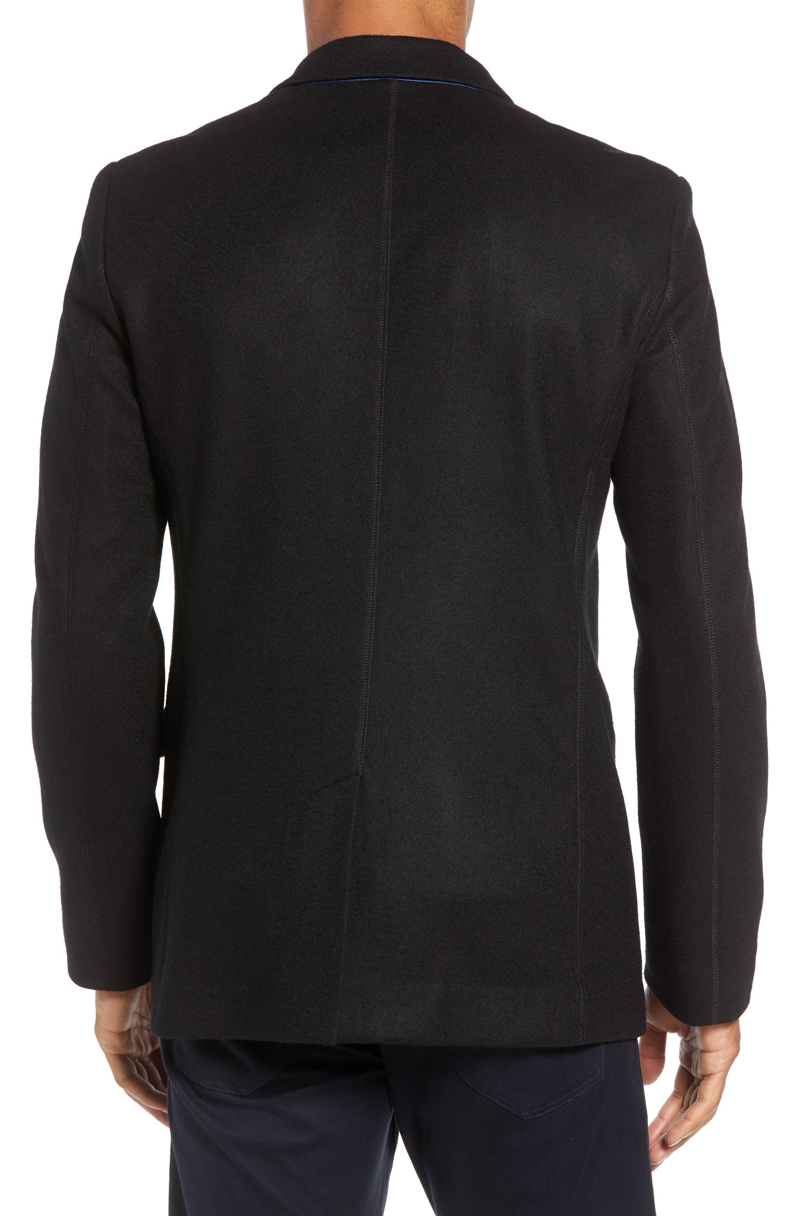 Deconstructed Razor Slim Fit Wool Jacket,                             Alternate thumbnail 2, color,                             BLACK