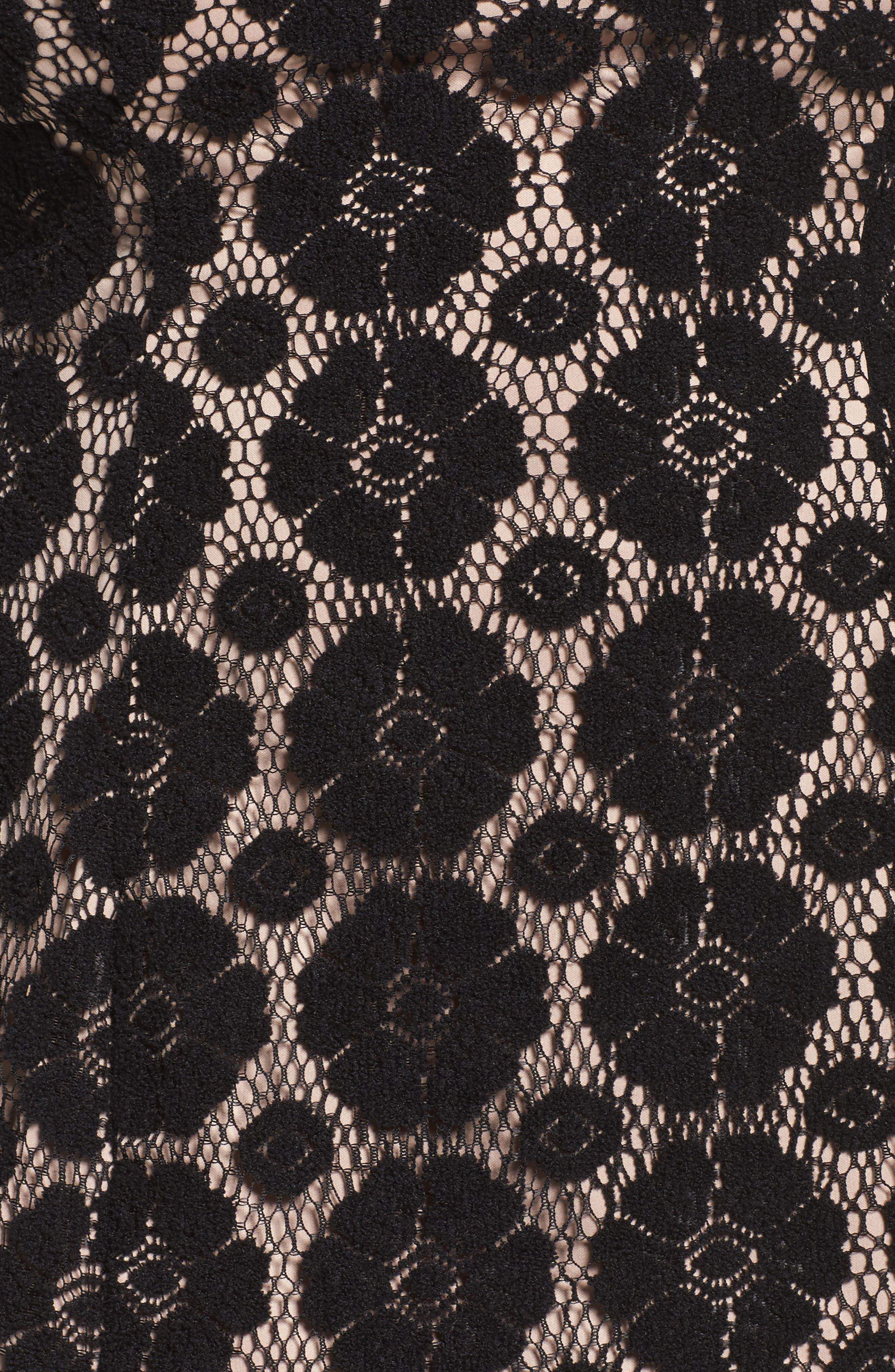 Textured Floral Lace Shift Dress,                             Alternate thumbnail 5, color,