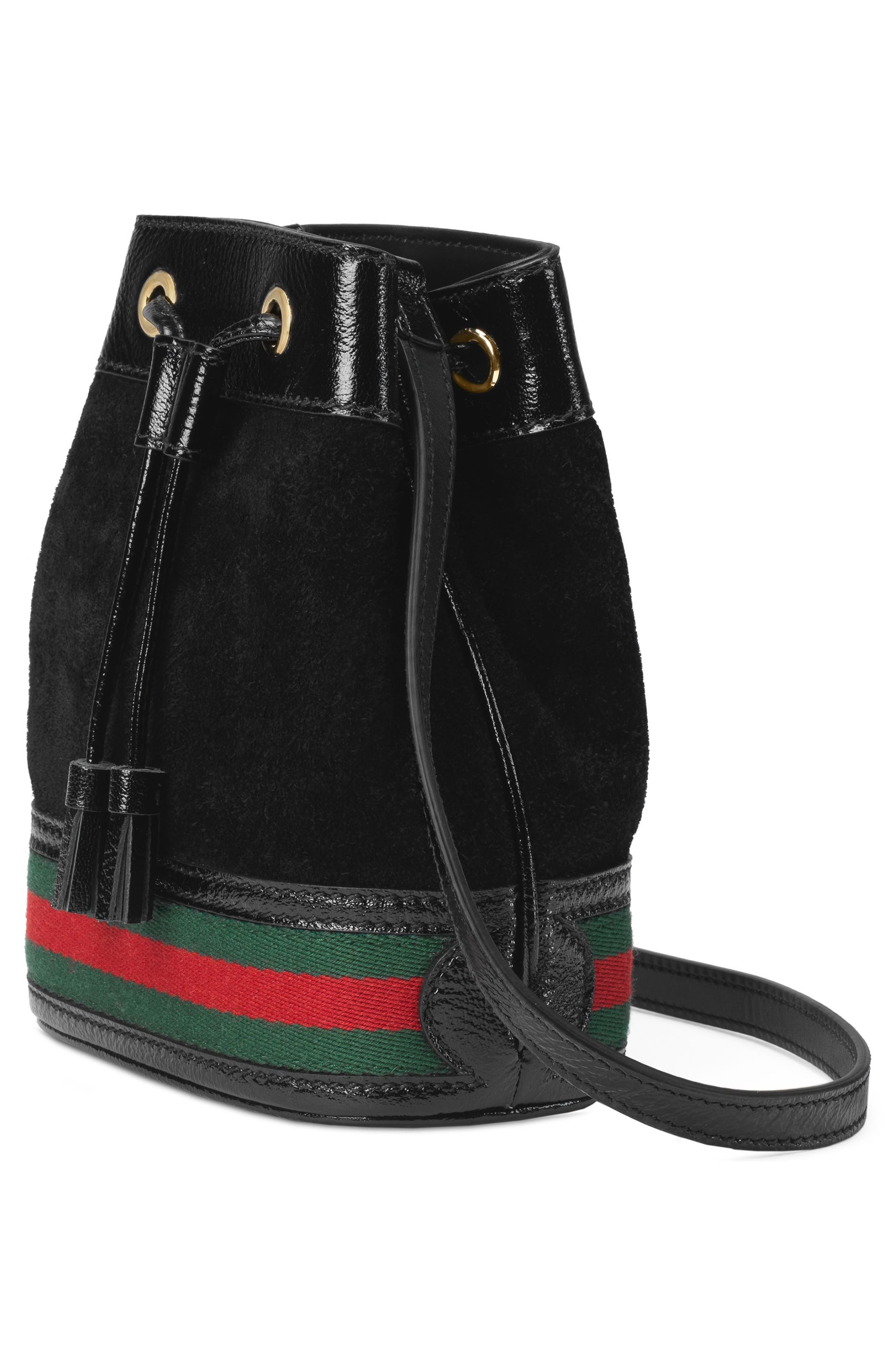 Mini Ophidia Suede & Leather Bucket Bag,                             Alternate thumbnail 4, color,                             NERO/ VERT/ RED