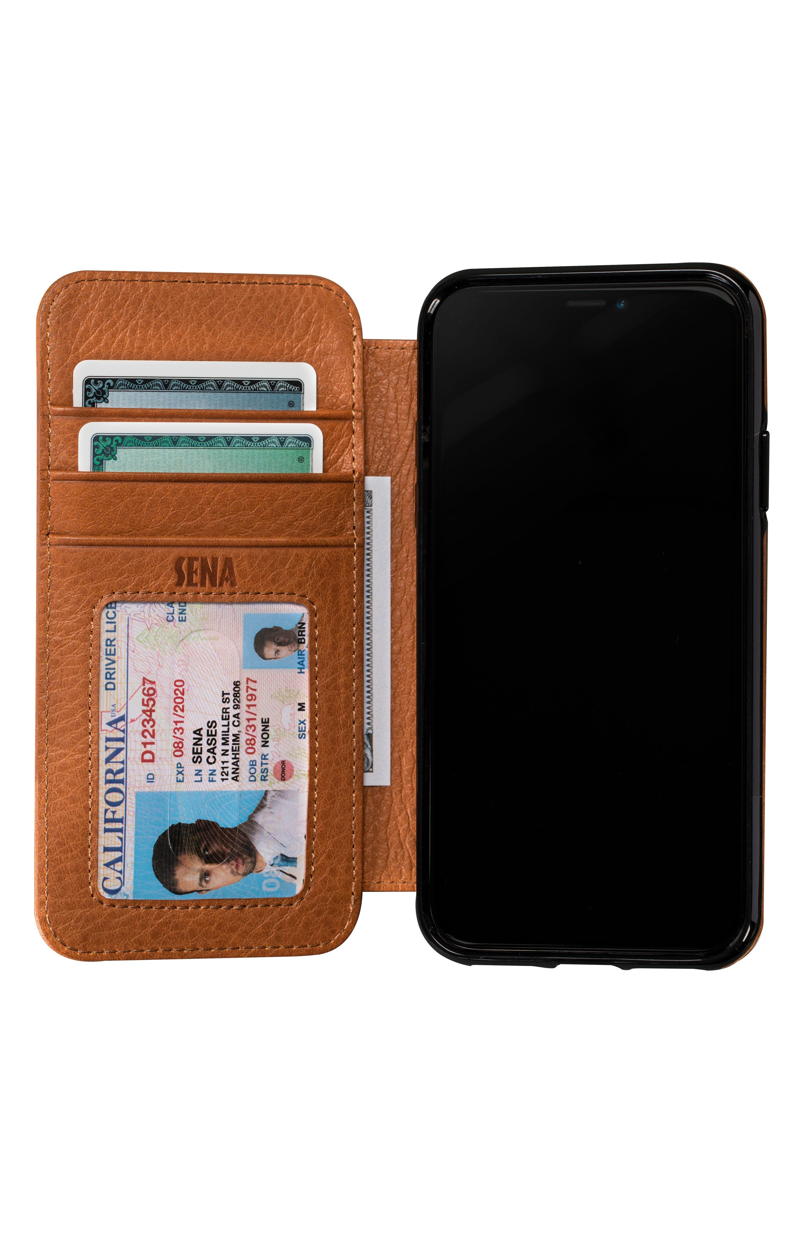 Bence iPhone X & Xs Walletbook,                             Alternate thumbnail 2, color,                             SADDLE