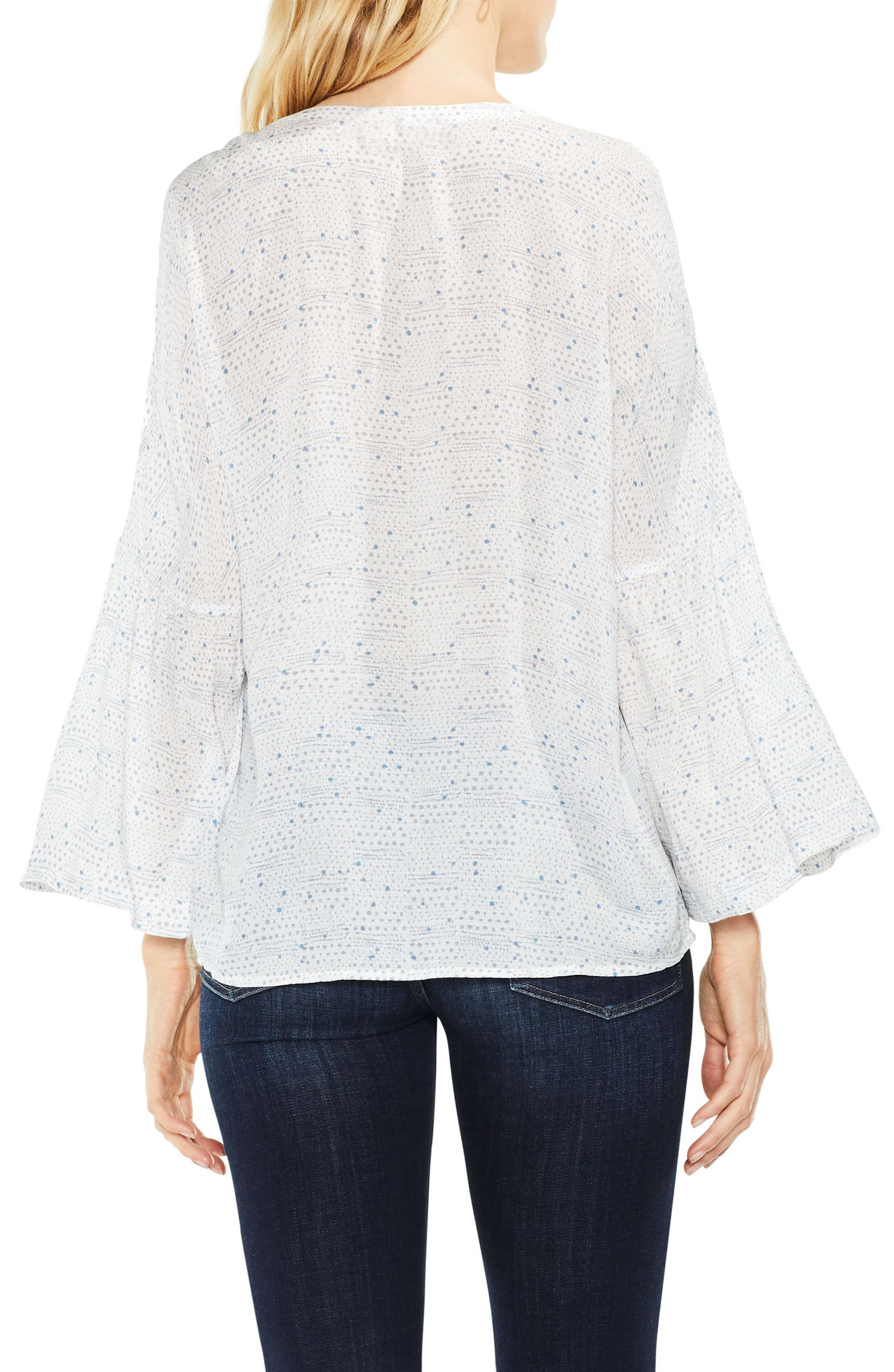 Two by Vince Camuto Bell Sleeve Geo Dialogue Top,                             Alternate thumbnail 3, color,