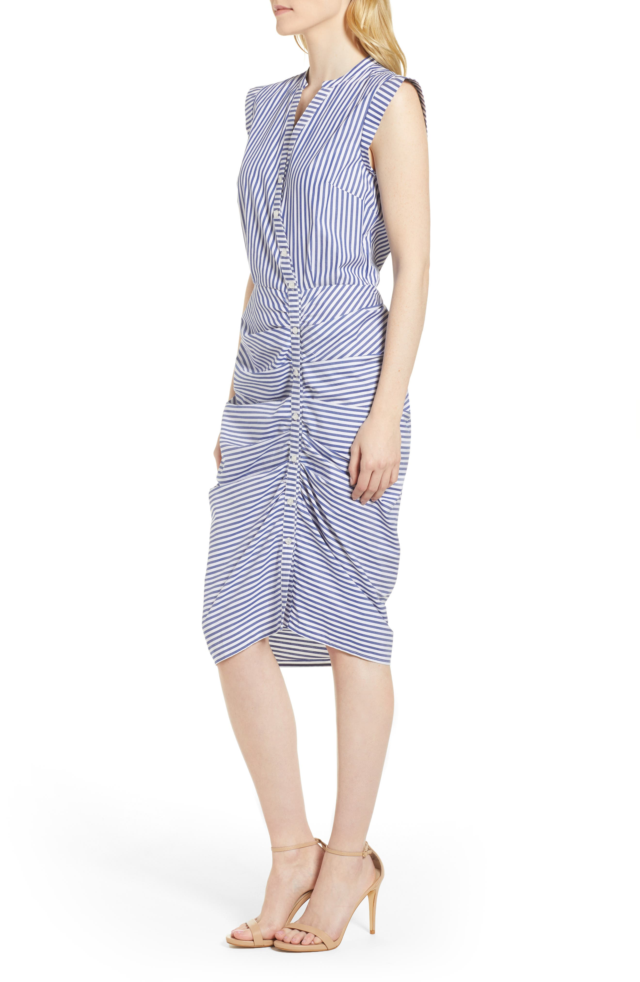 Stripe Ruched Cotton Shirtdress,                             Alternate thumbnail 4, color,                             400