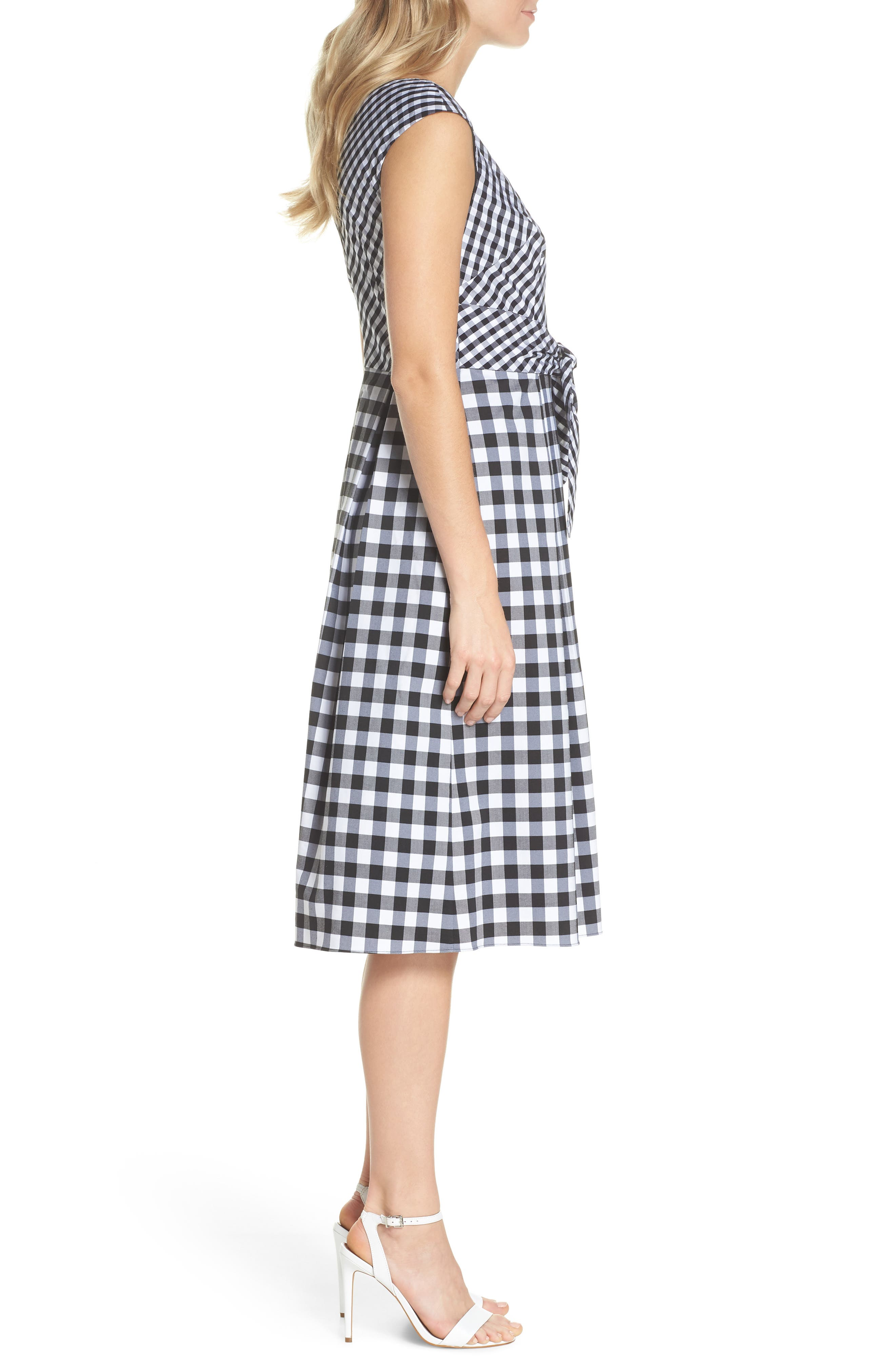 ADRIANNA PAPELL,                             Gingham Tie Front Midi Dress,                             Alternate thumbnail 3, color,                             002