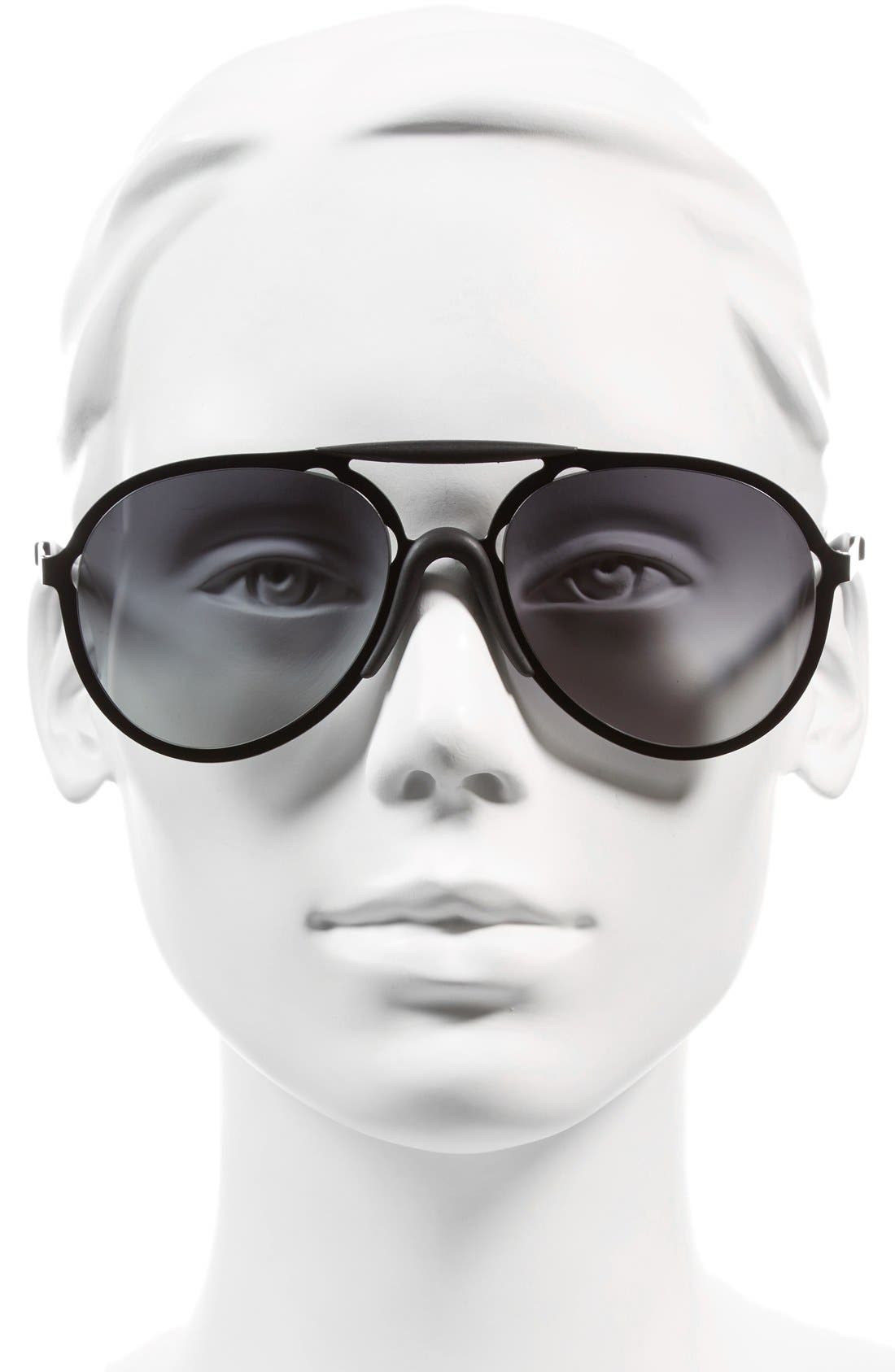 57mm Sunglasses,                             Alternate thumbnail 3, color,                             BLACK/ GREY GRADIENT
