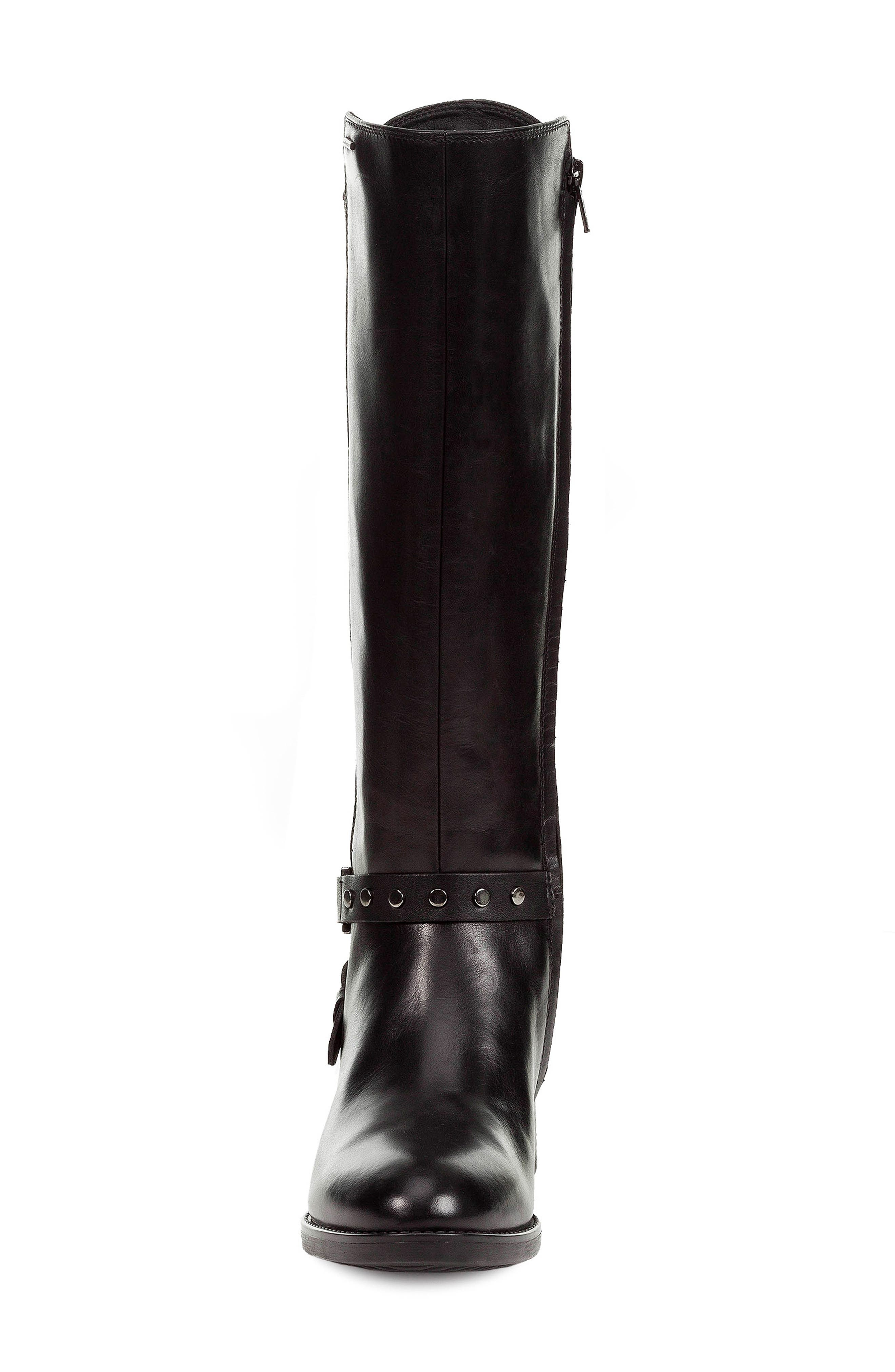 Felicity ABX Waterproof Knee High Riding Boot,                             Alternate thumbnail 4, color,                             BLACK LEATHER