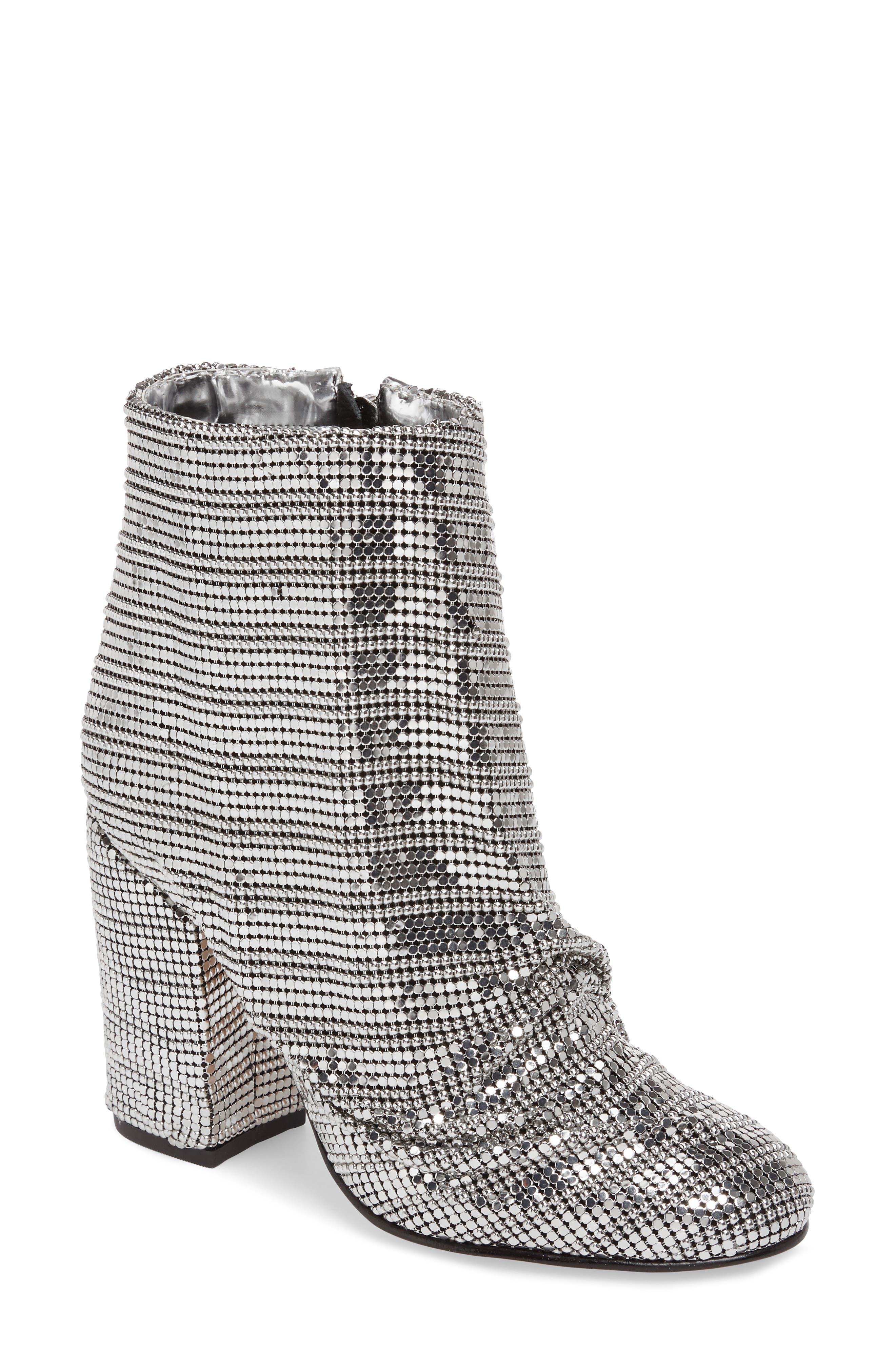 Taise Ruched Mirror Mesh Bootie,                             Main thumbnail 1, color,                             100
