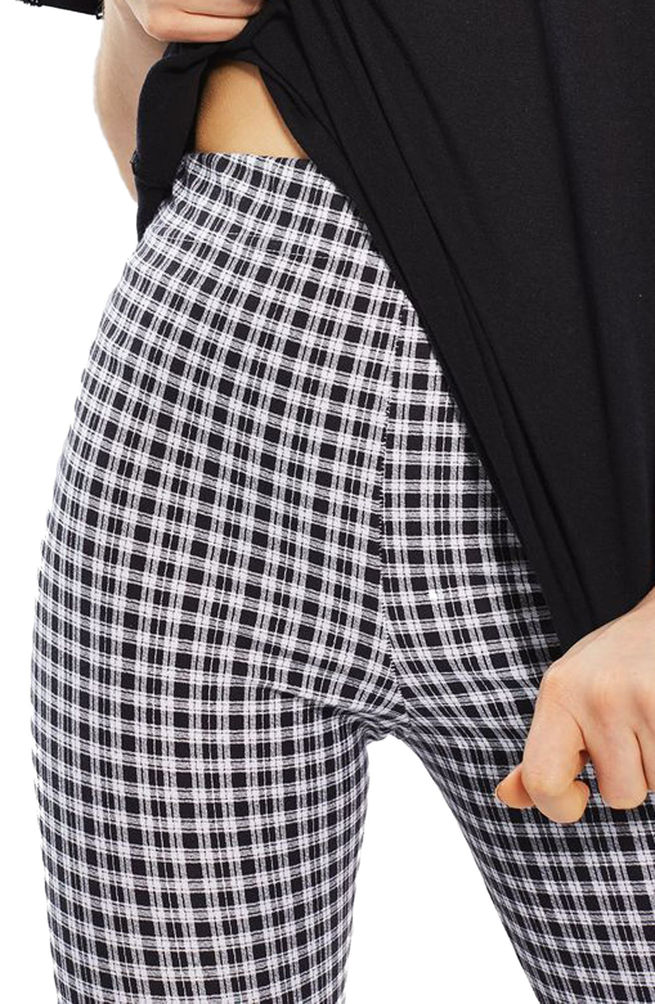 Check Print Leggings,                             Alternate thumbnail 3, color,                             001