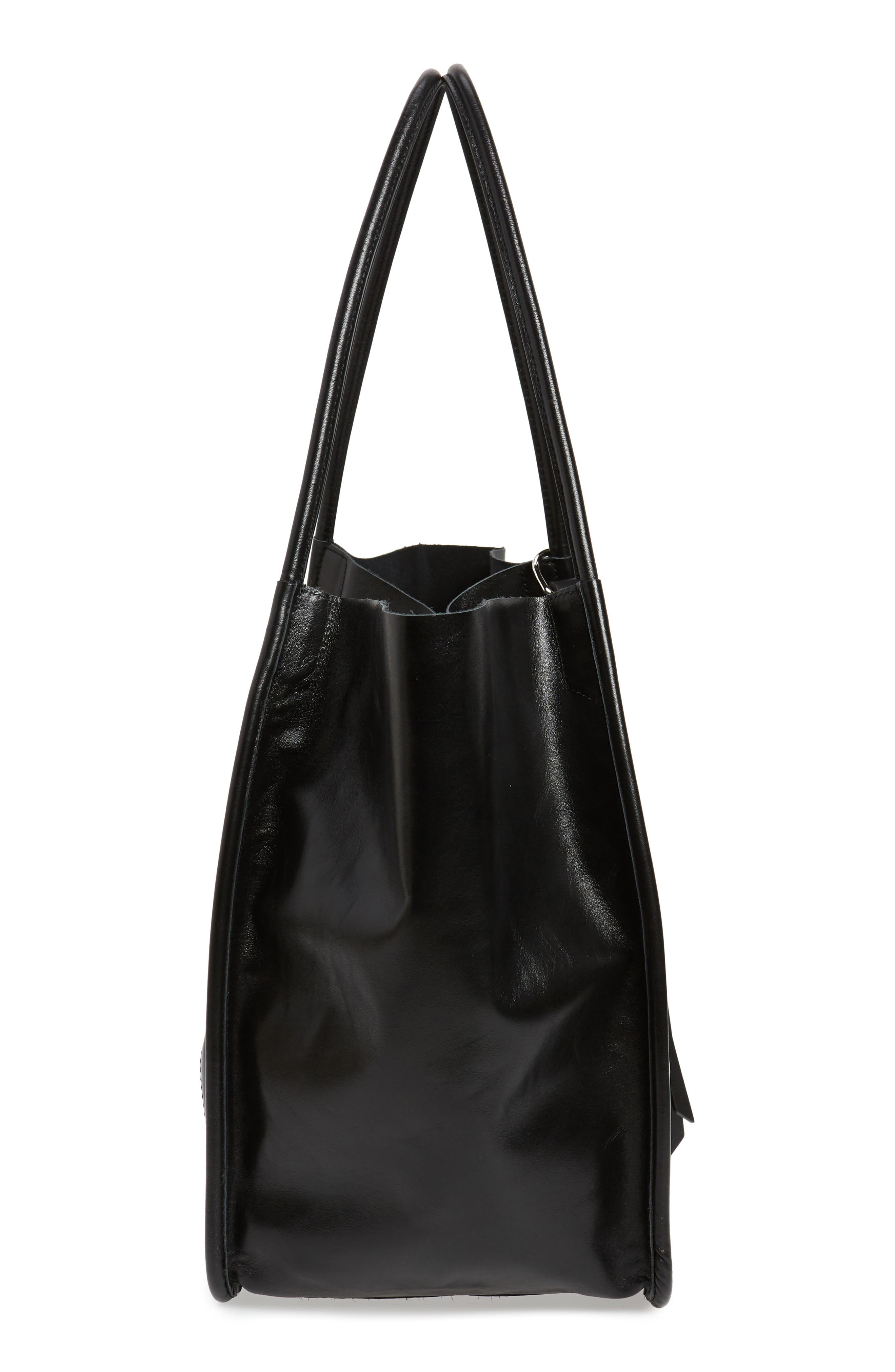 Large Calfskin Leather Tote,                             Alternate thumbnail 5, color,                             BLACK