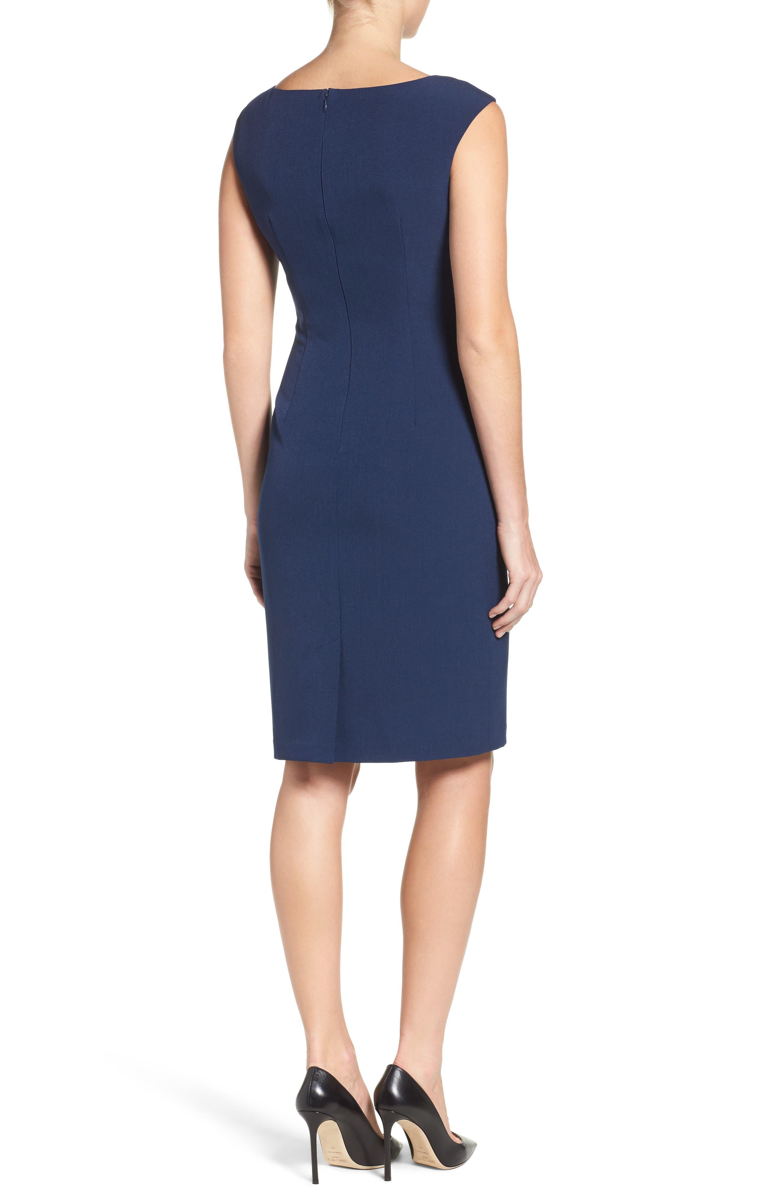 Crepe Sheath Dress,                             Alternate thumbnail 3, color,