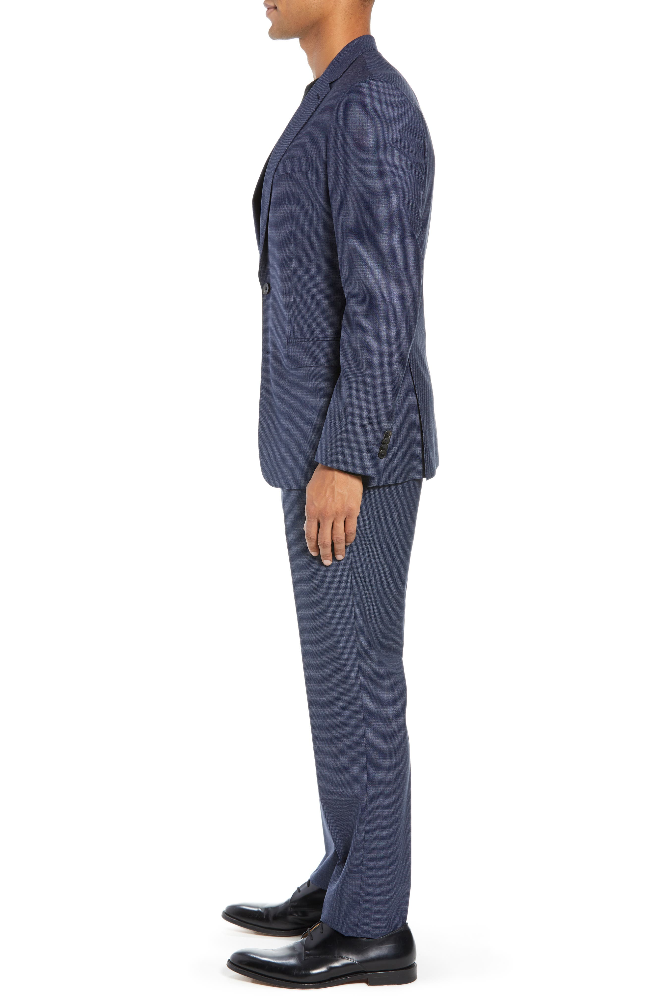 Novan/Ben Trim Fit Check Wool Suit,                             Alternate thumbnail 3, color,                             DARK BLUE