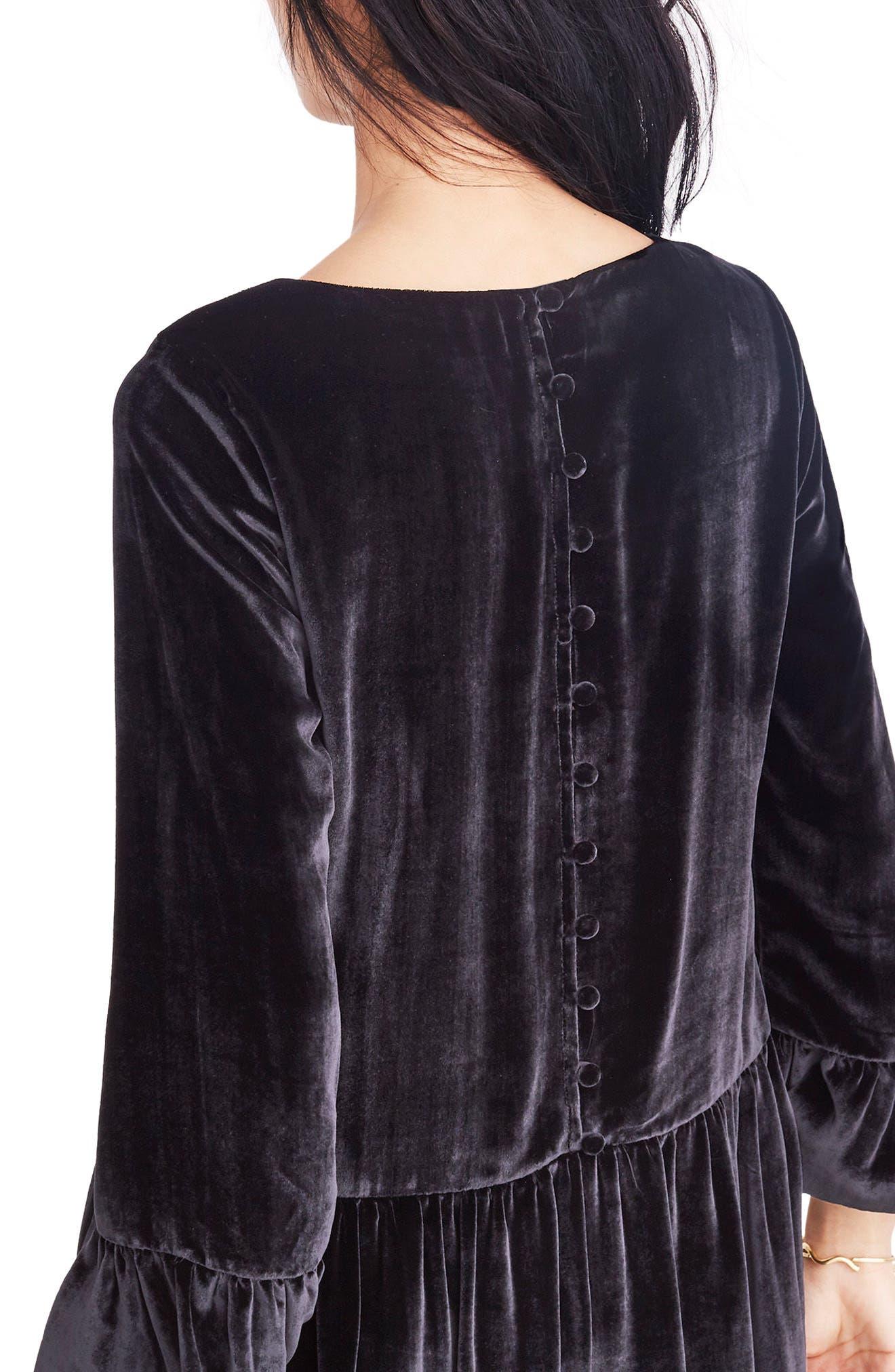 Velvet Bell Sleeve Dress,                             Main thumbnail 1, color,                             001