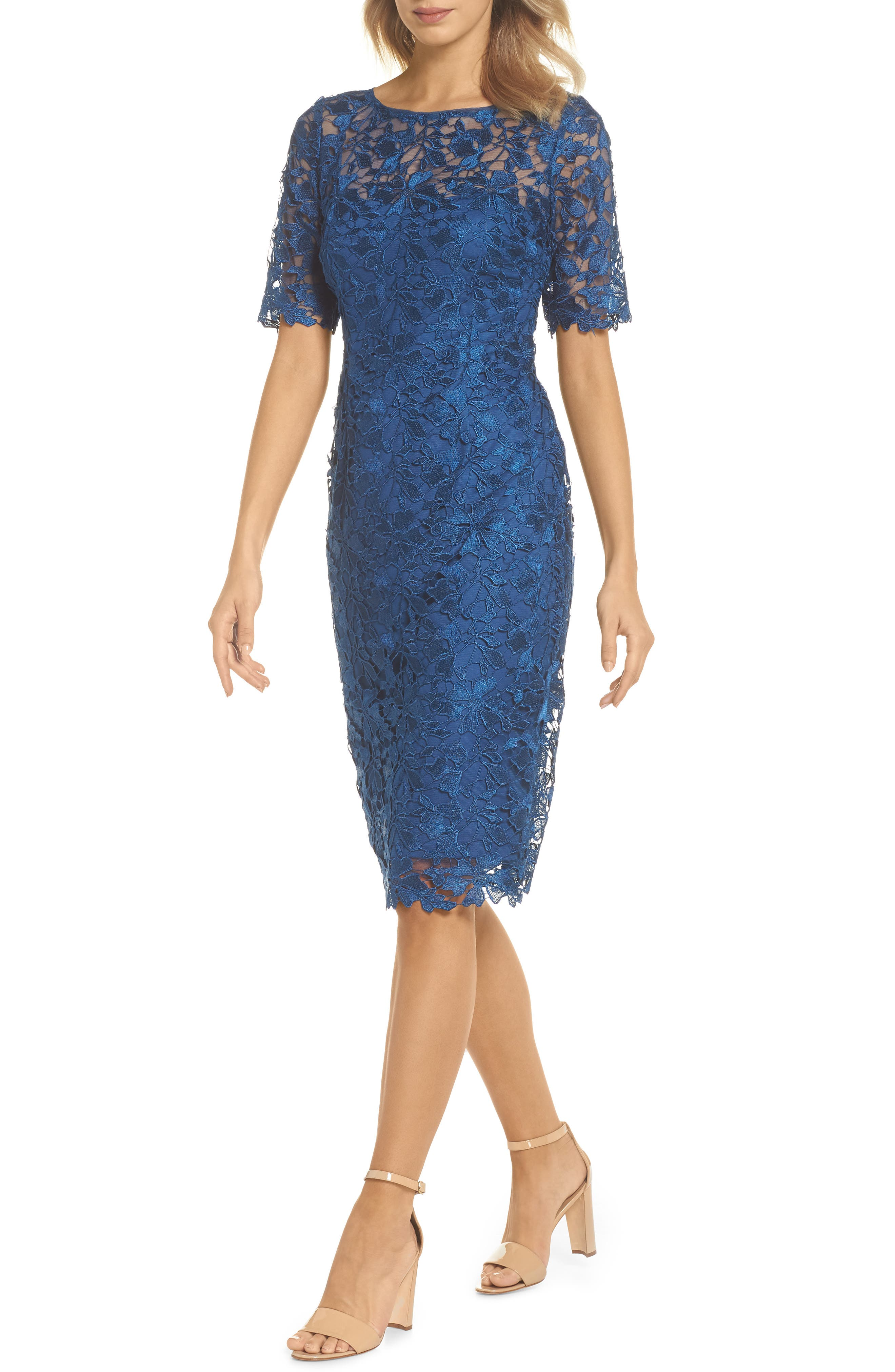 ADRIANNA PAPELL,                             Guipure Lace Sheath Dress,                             Main thumbnail 1, color,                             413