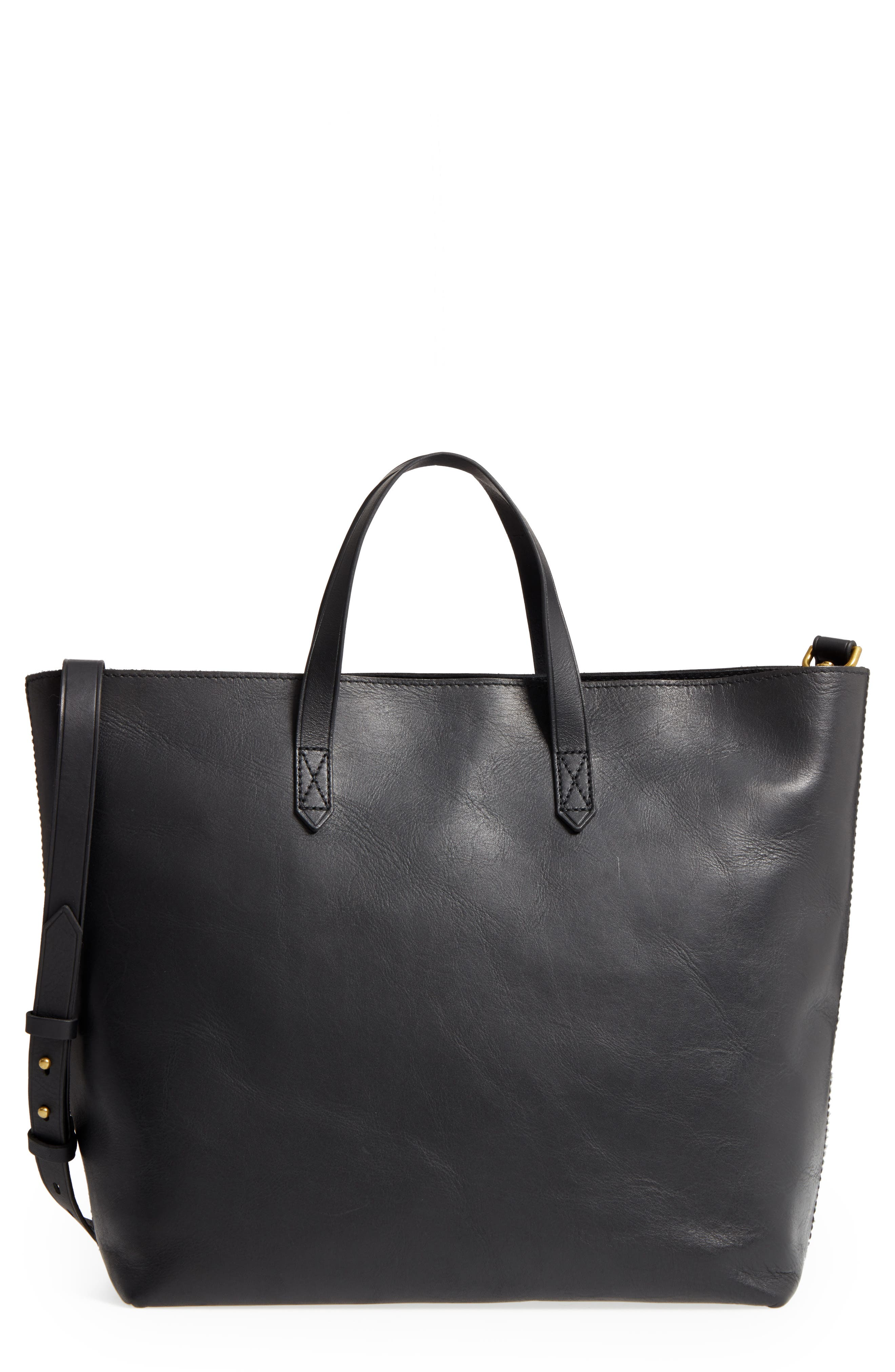Zip Top Transport Leather Carryall,                         Main,                         color, TRUE BLACK