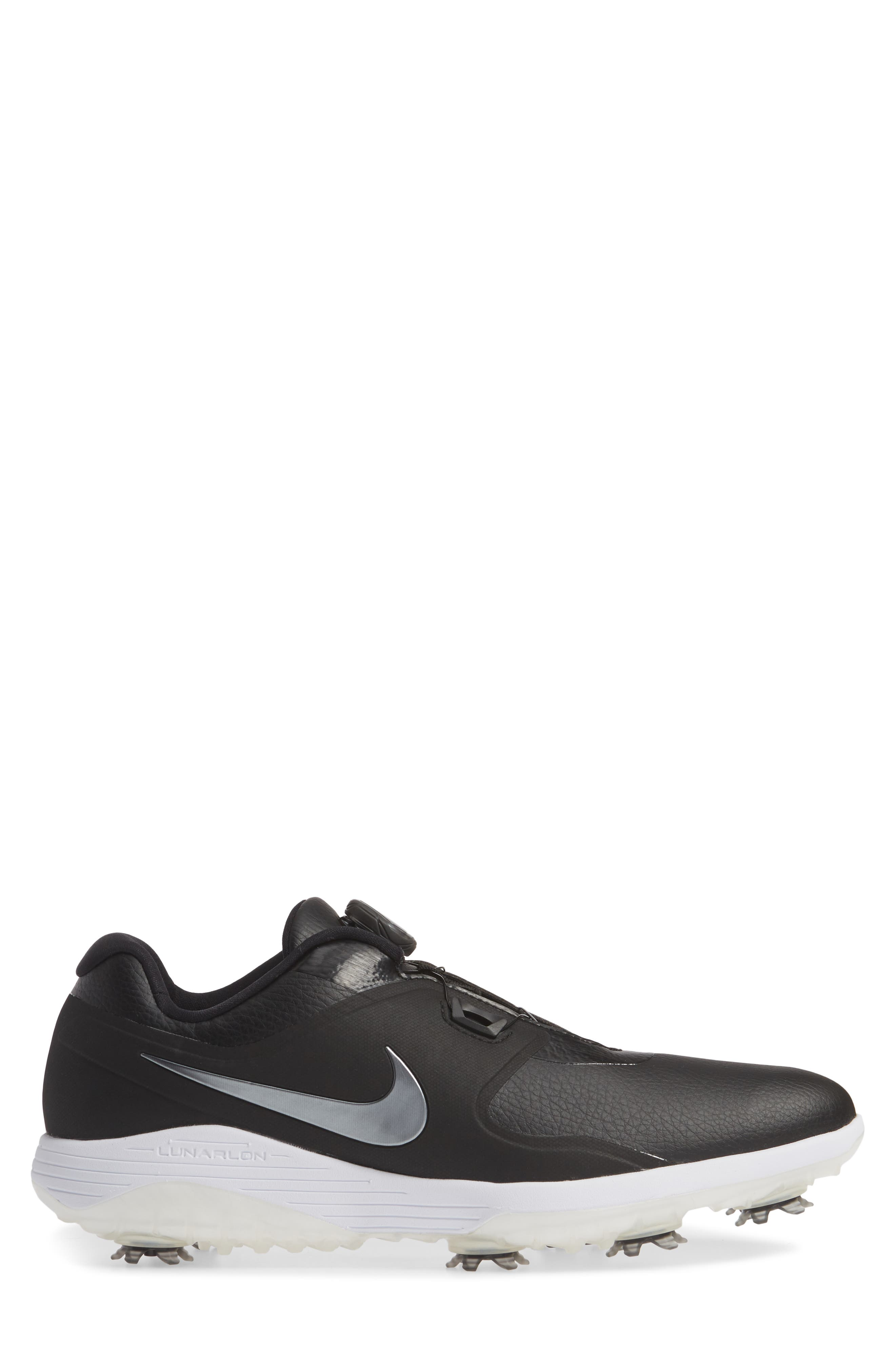 NIKE,                             Vapor Pro BOA Waterproof Golf Shoe,                             Alternate thumbnail 3, color,                             BLACK/ COOL GREY/ WHITE