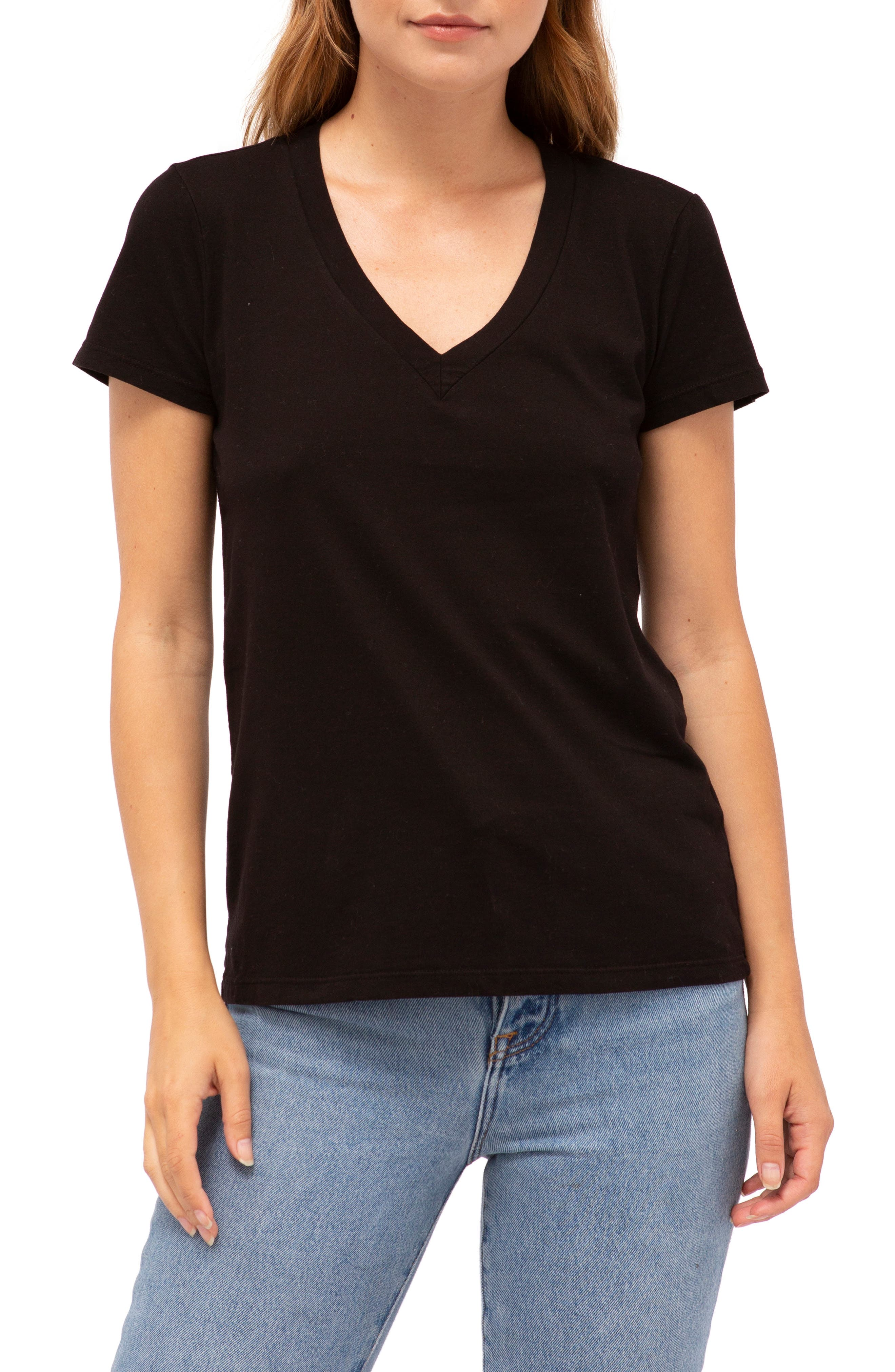 Brushed V-Neck Tee,                         Main,                         color, BLACK