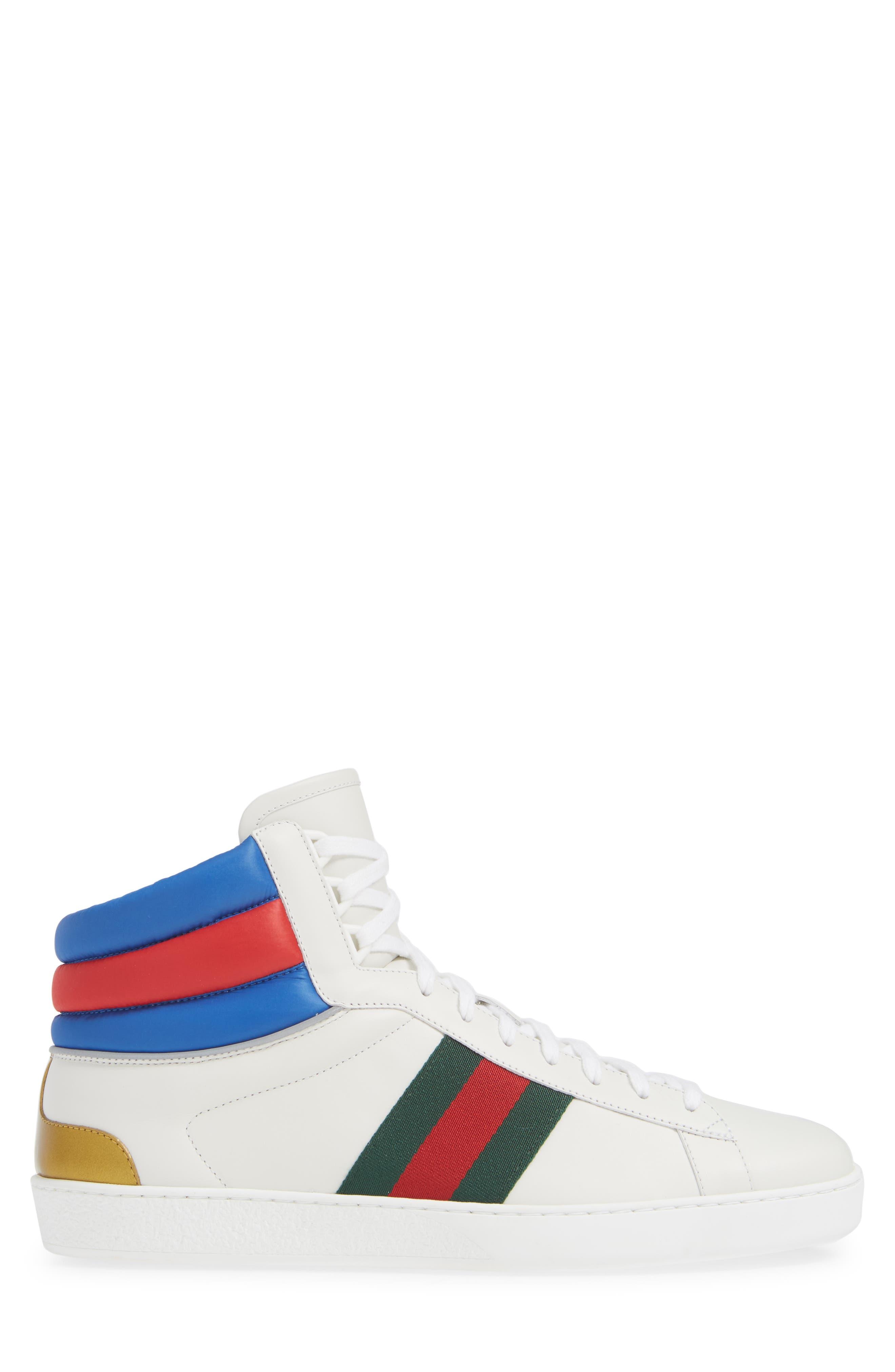 New Ace Stripe High Top Sneaker,                             Alternate thumbnail 3, color,                             BIANCO WHITE