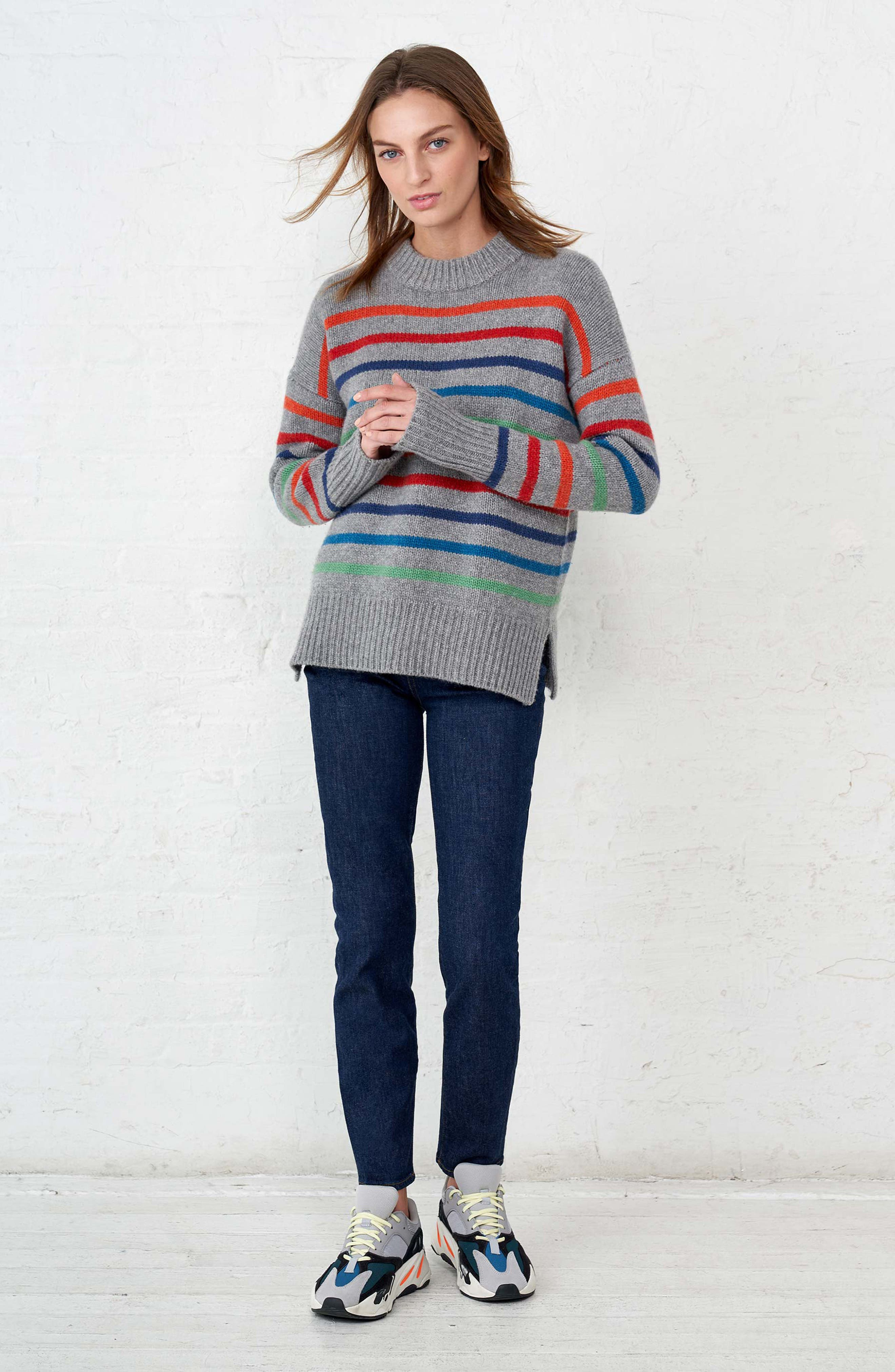 Marin Wool & Cashmere Sweater,                             Alternate thumbnail 8, color,                             RAINBOW STRIPE