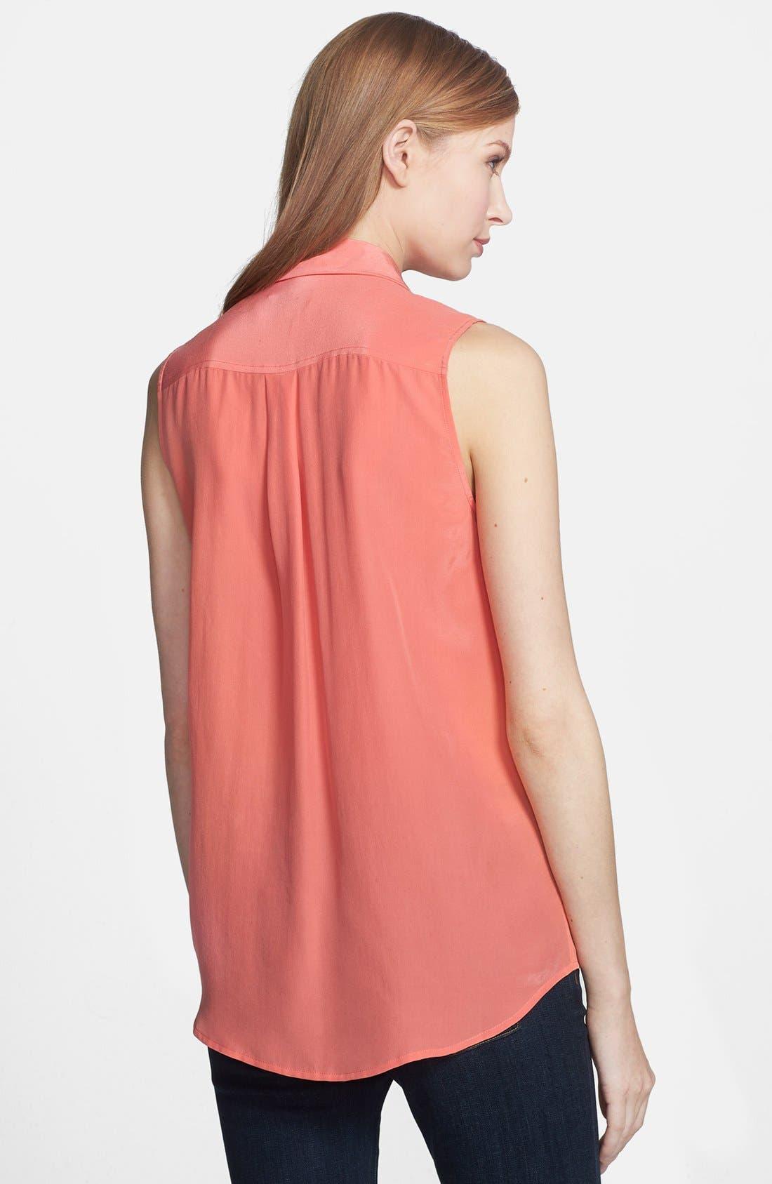 'Slim Signature' Sleeveless Silk Shirt,                             Alternate thumbnail 97, color,