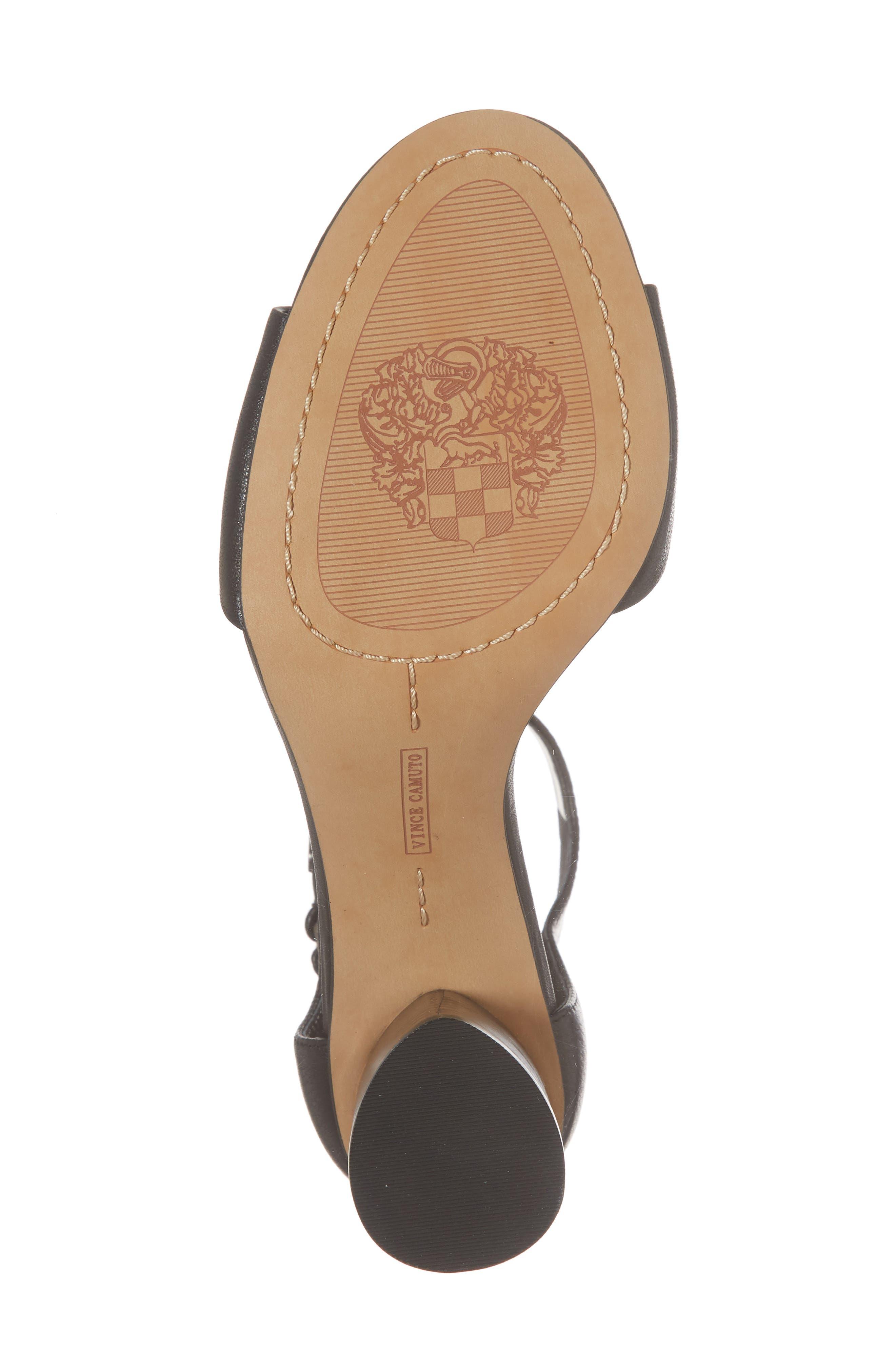 Jannali Ankle Strap Sandal,                             Alternate thumbnail 6, color,                             BLACK LEATHER