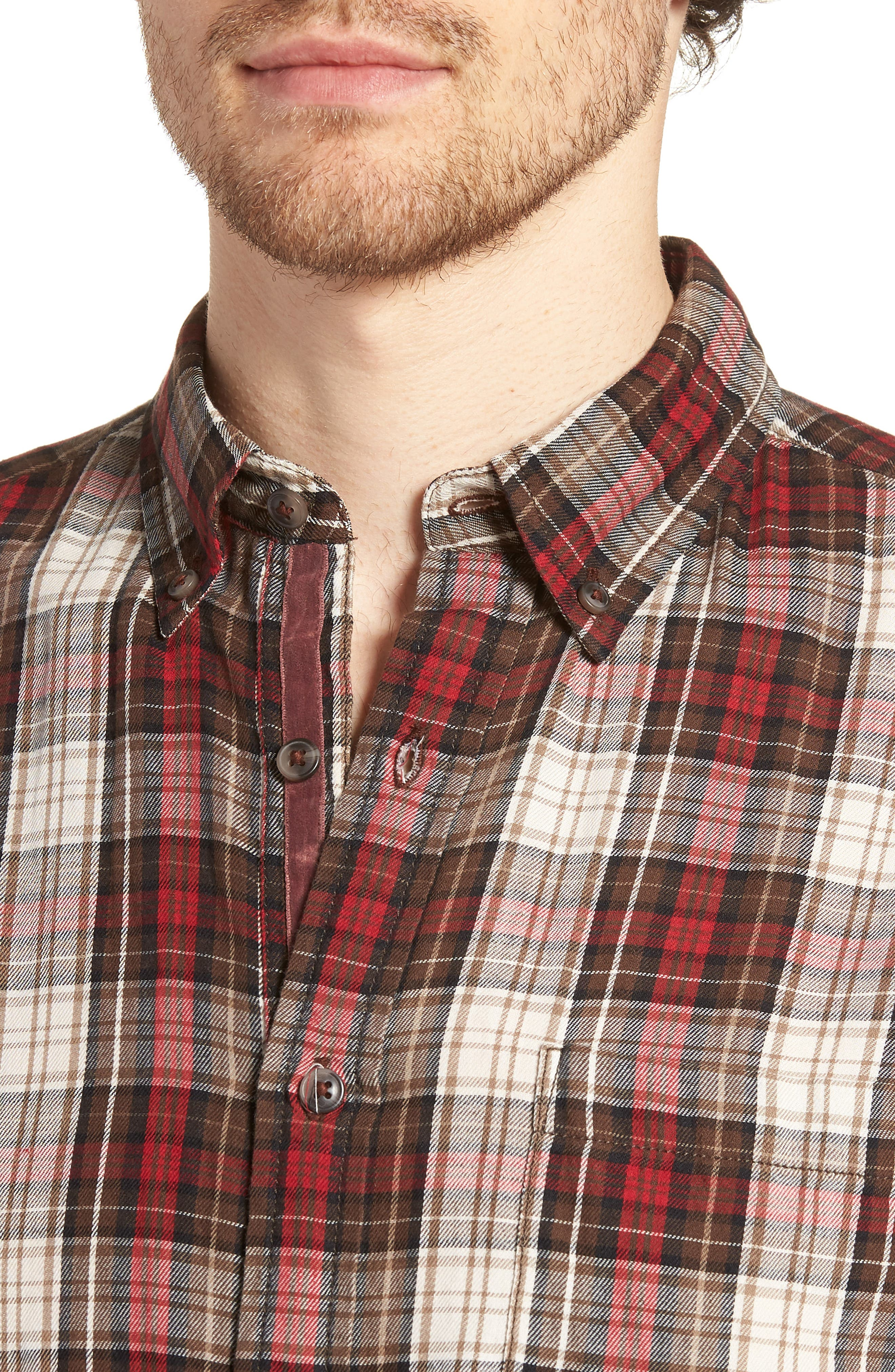 Featherweight Twill Sport Shirt,                             Alternate thumbnail 4, color,                             BROWN