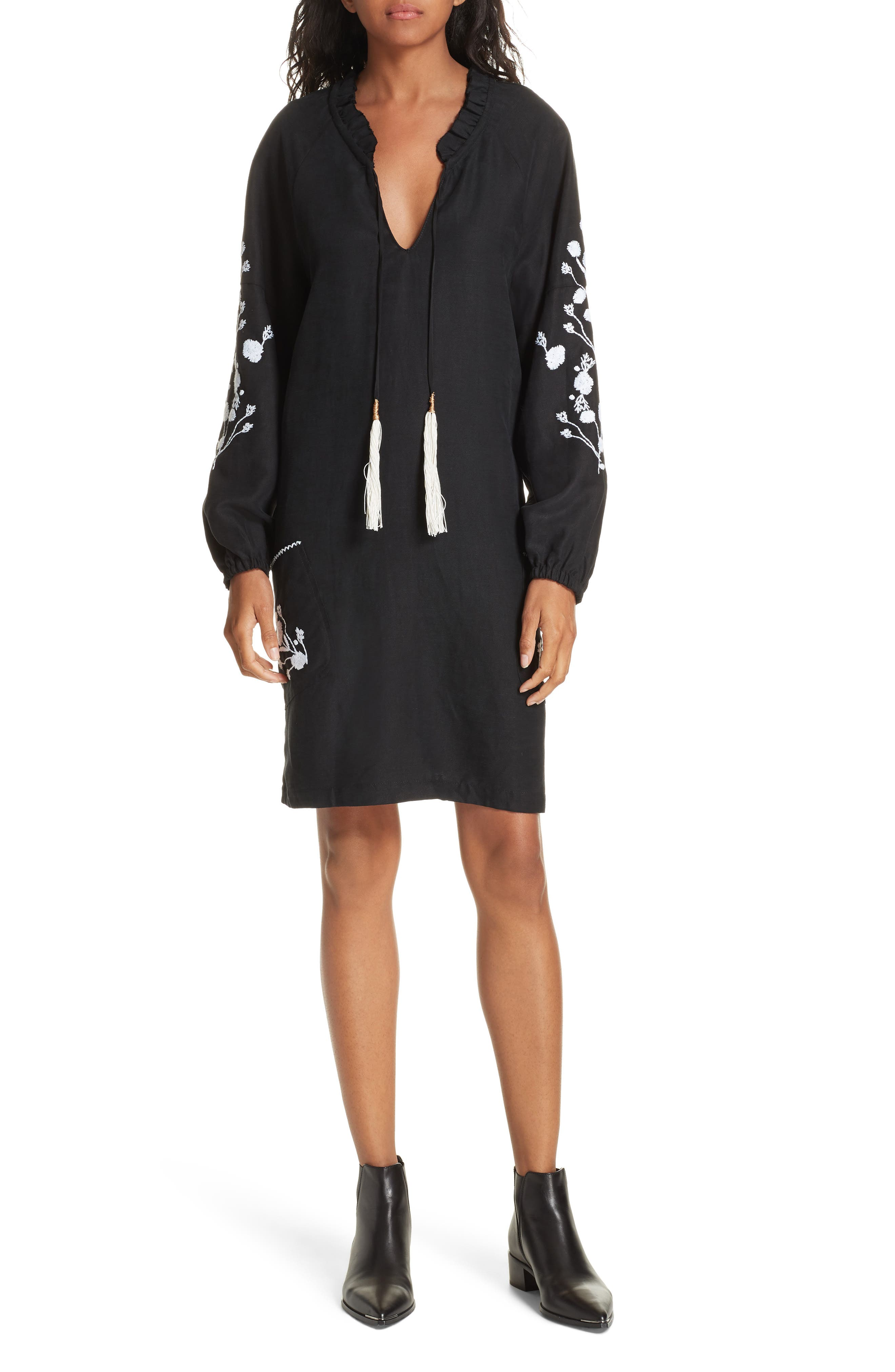 Embroidered Shift Dress,                         Main,                         color, BLACK