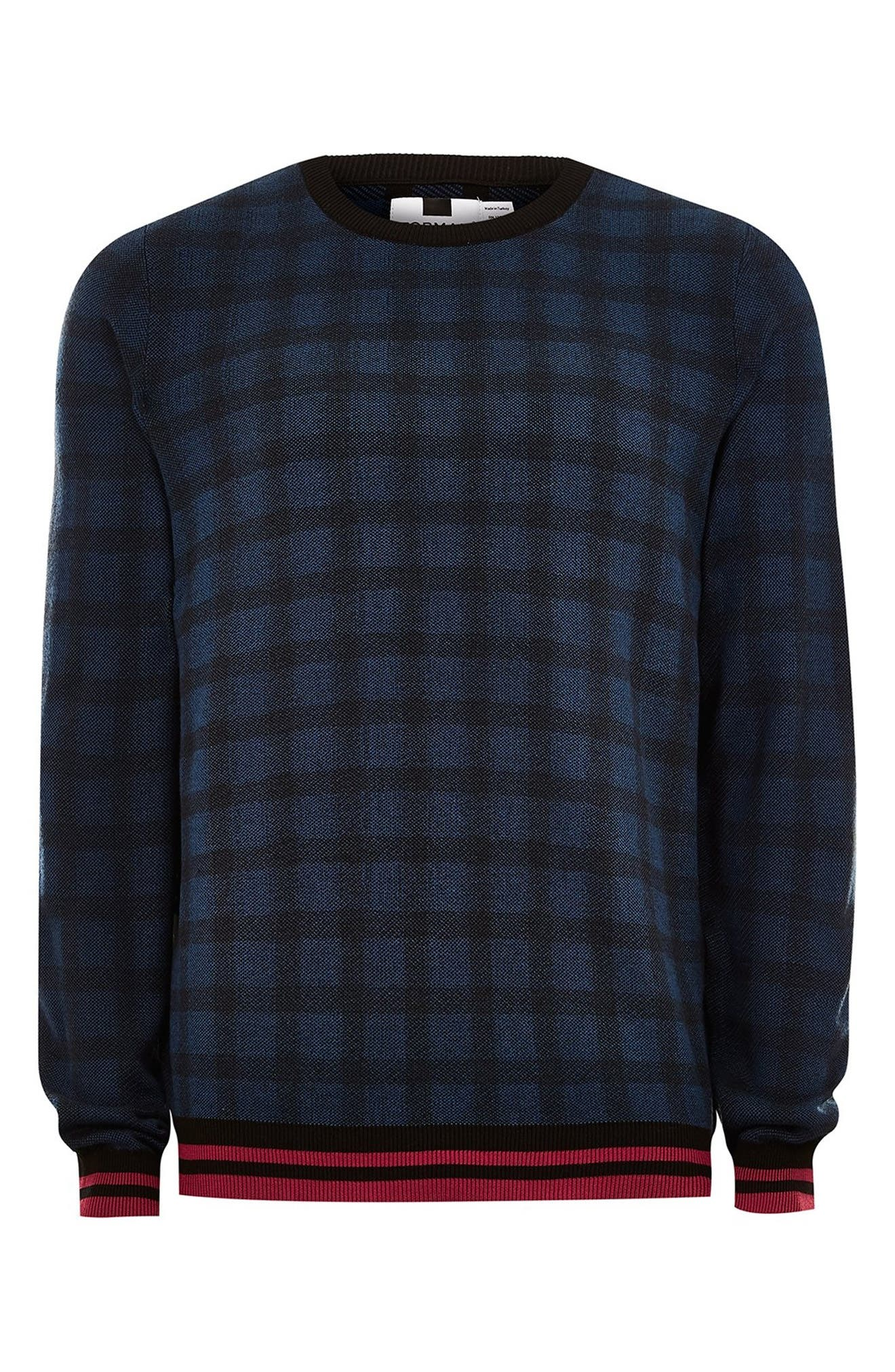 Check Print Classic Fit Sweater,                             Alternate thumbnail 4, color,                             BLUE MULTI
