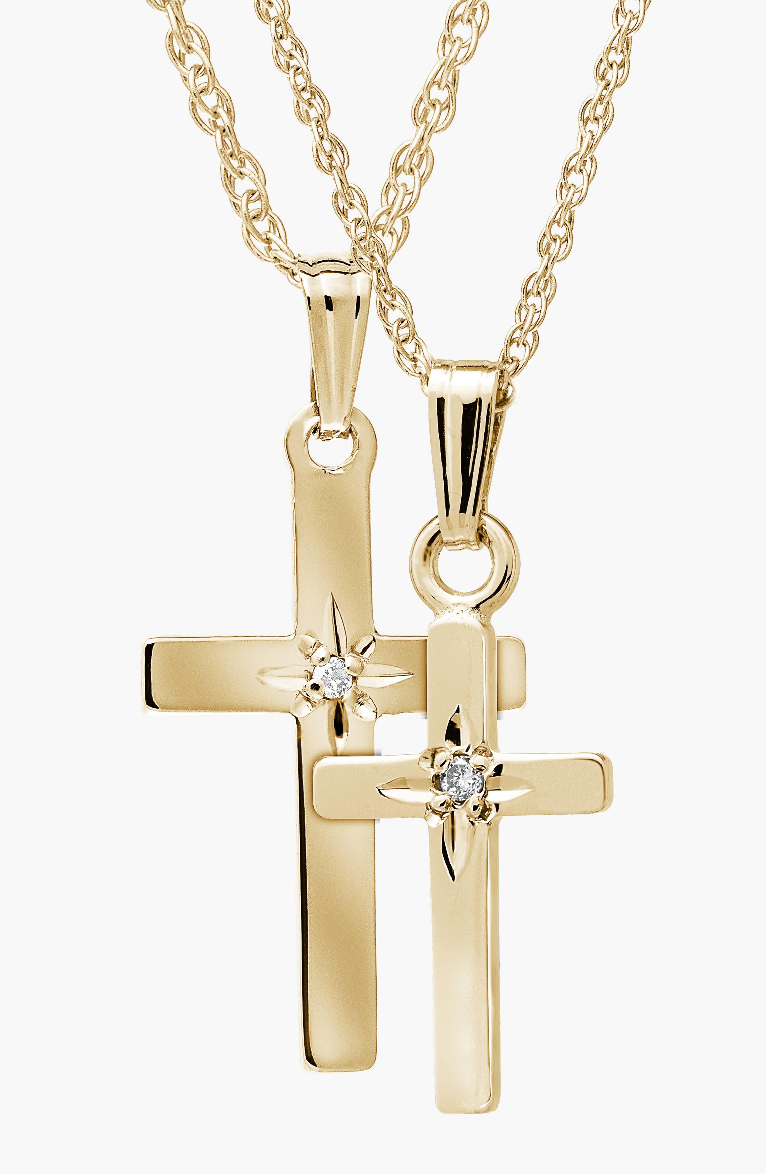 14k Gold & Diamond Cross Mother & Daughter Necklace Set,                             Alternate thumbnail 2, color,                             710