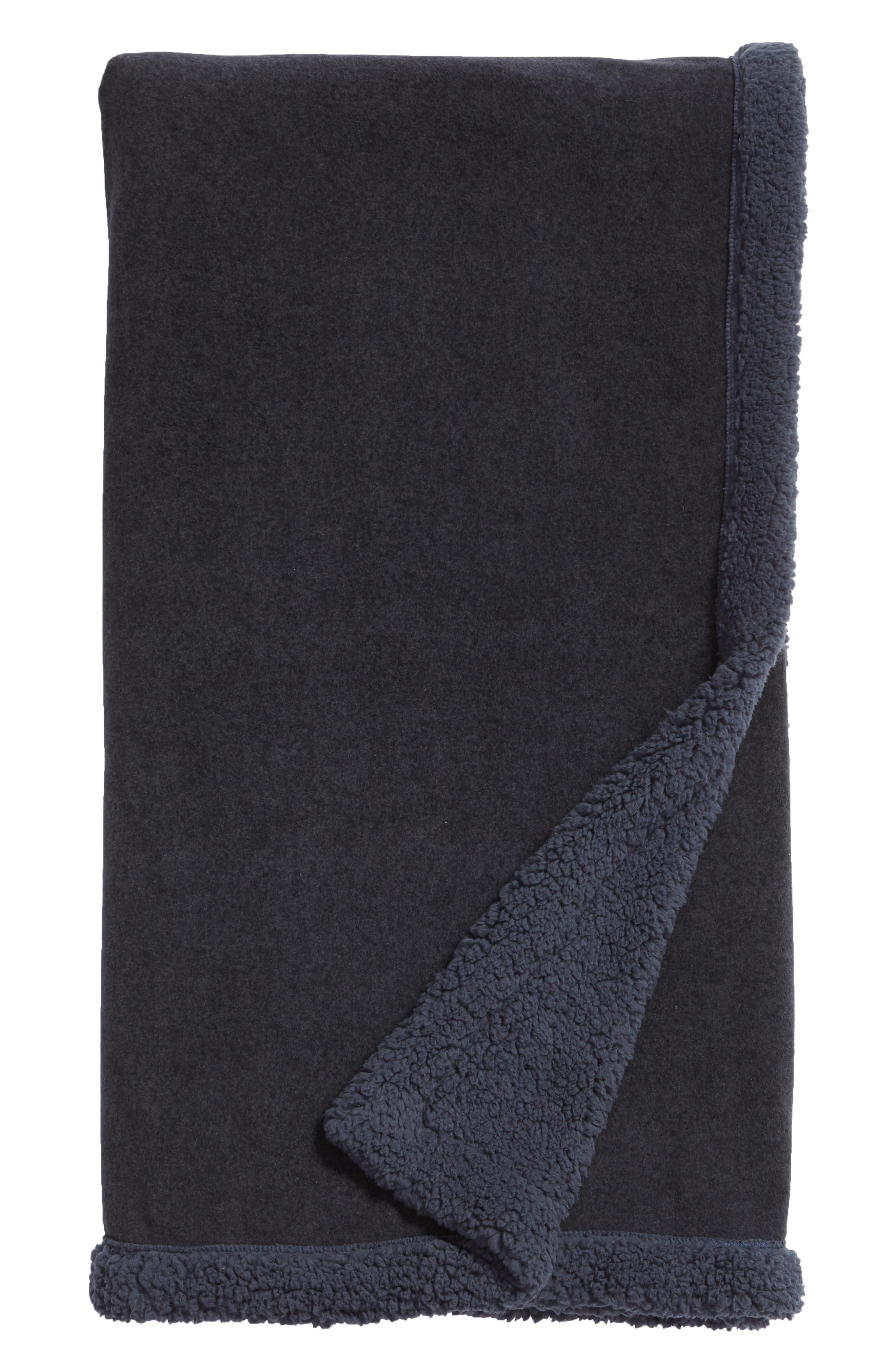 Fleece Throw,                         Main,                         color, NAVY BLUE