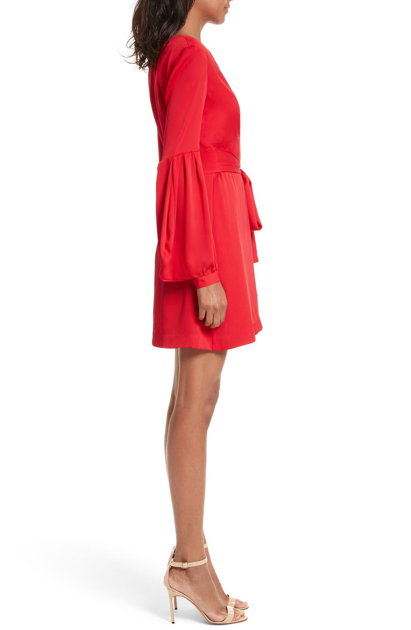 Kayla Deep V-Neck Stretch Silk Dress,                             Alternate thumbnail 4, color,
